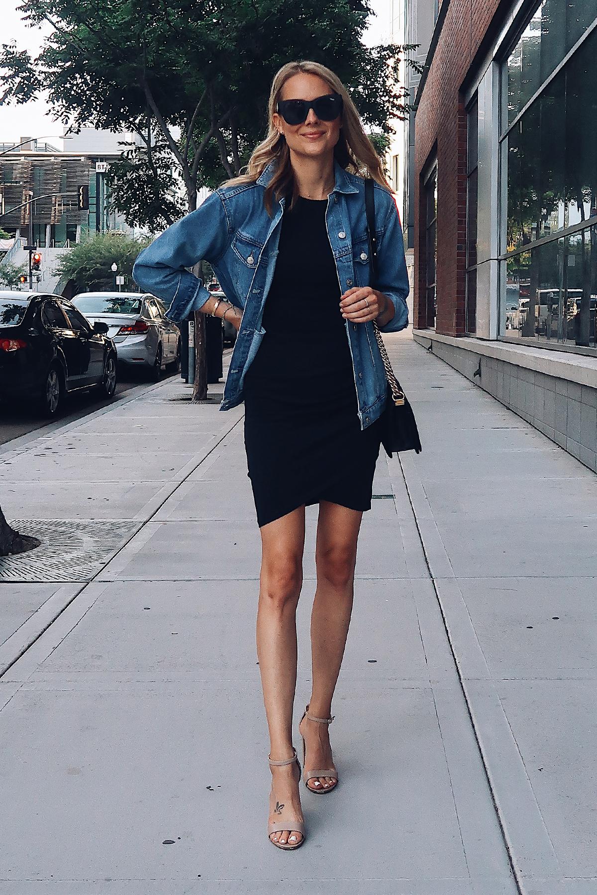 Blonde Woman Wearing Topshop Oversized Denim Jacket Black Wrap Dress Steve Madden Nude Ankle Strap Heeled Sandals Fashion Jackson San Diego Fashion Blogger Street Style