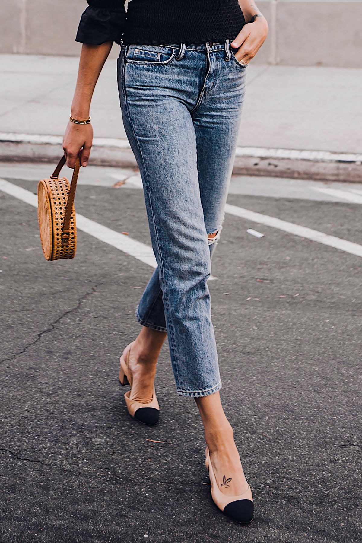 Woman Wearing Fashion Jackson Treasure and Bond Straight Leg Jeans Chanel Slingback Shoes Cane Circle Straw Handbag Fashion Jackson San Diego Fashion Blogger Street Style