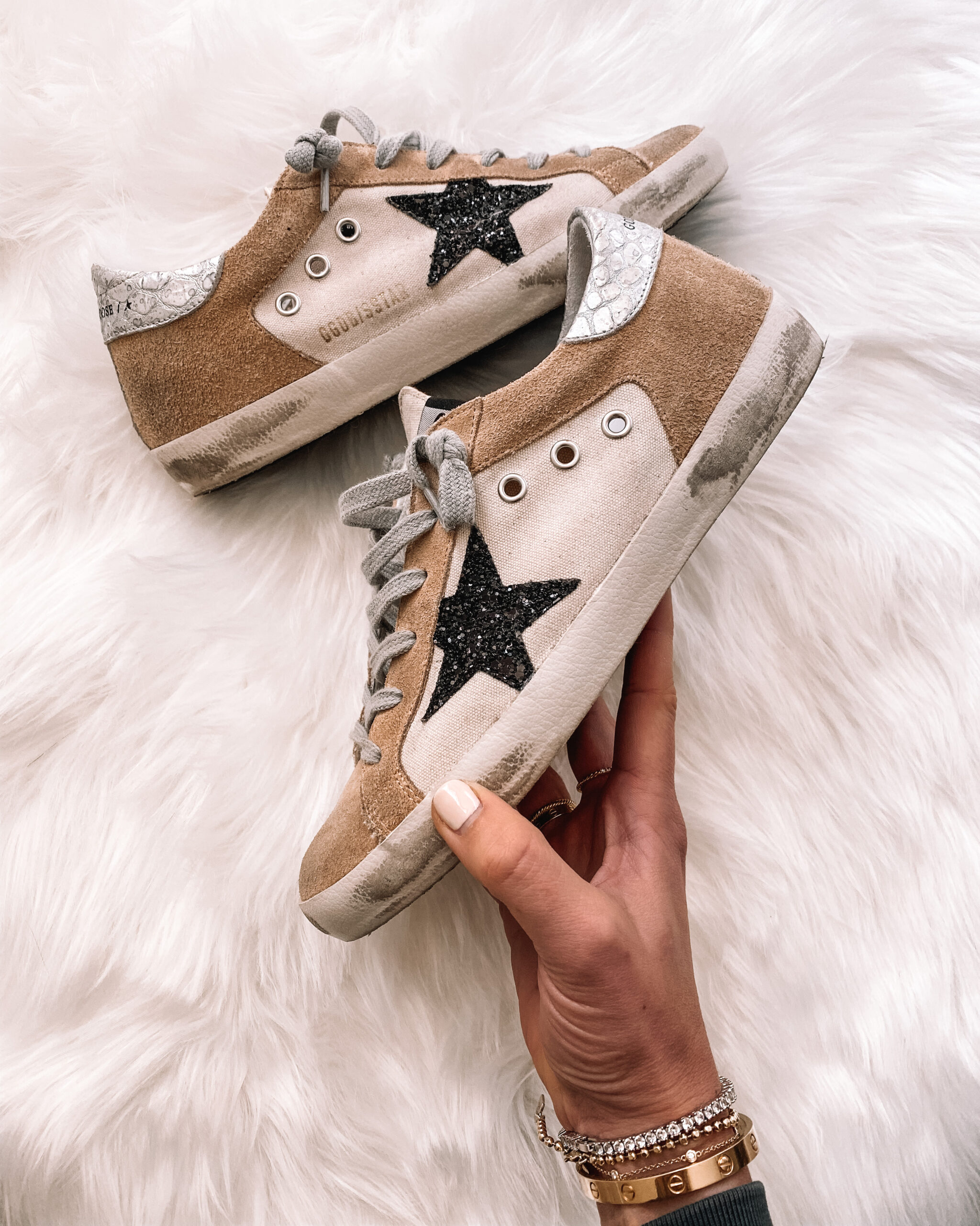 Fashion Jackson Golden Goose Superstar Sneakers Tan Suede Black Star