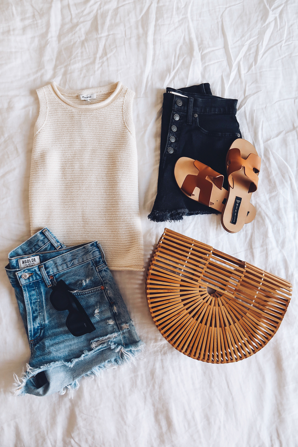 Madewell Sweater Tank Denim Shorts Greece Sandals Cult Gaia Arc Clutch