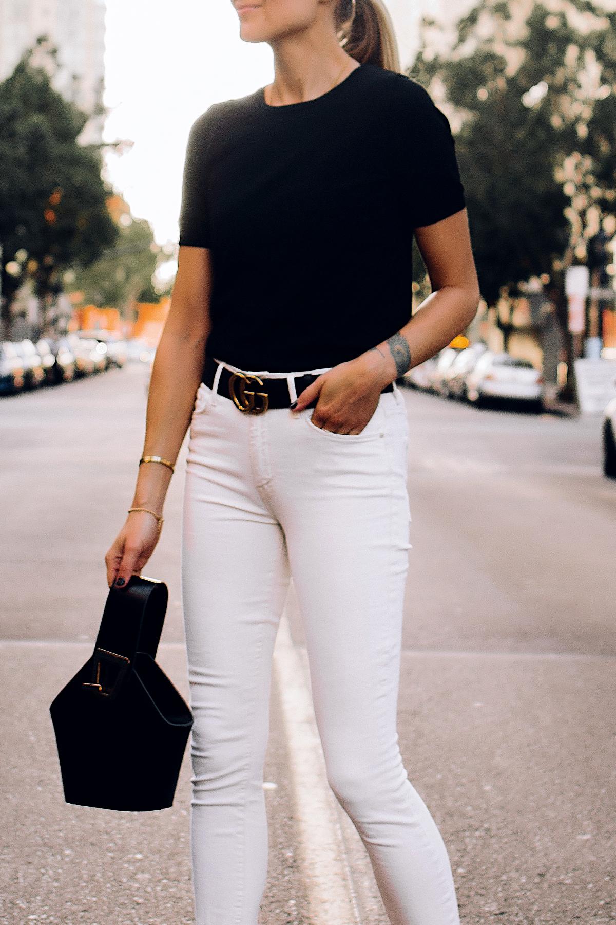 Woman Wearing Ann Taylor Black Short Sleeve Sweater White Jeans Black Gucci Belt Black Danse Lente Black Bucket Bag Fashion Jackson San Diego Fashion Blogger Street Style