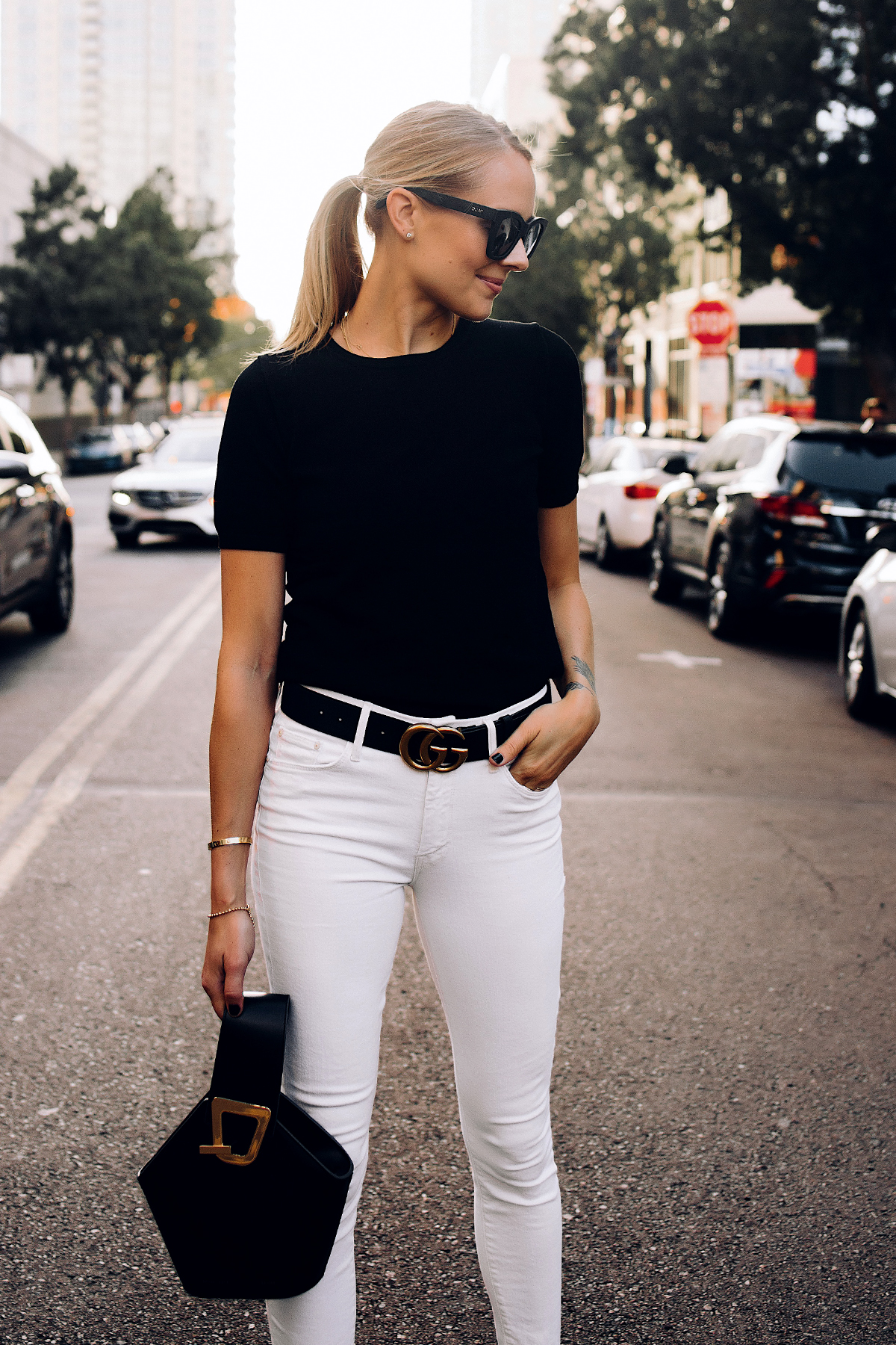 Blonde Woman Wearing Ann Taylor Black Short Sleeve Sweater White Jeans Black Gucci Belt Black Danse Lente Bucket Bag Fashion Jackson San Diego Fashion Blogger Street Style