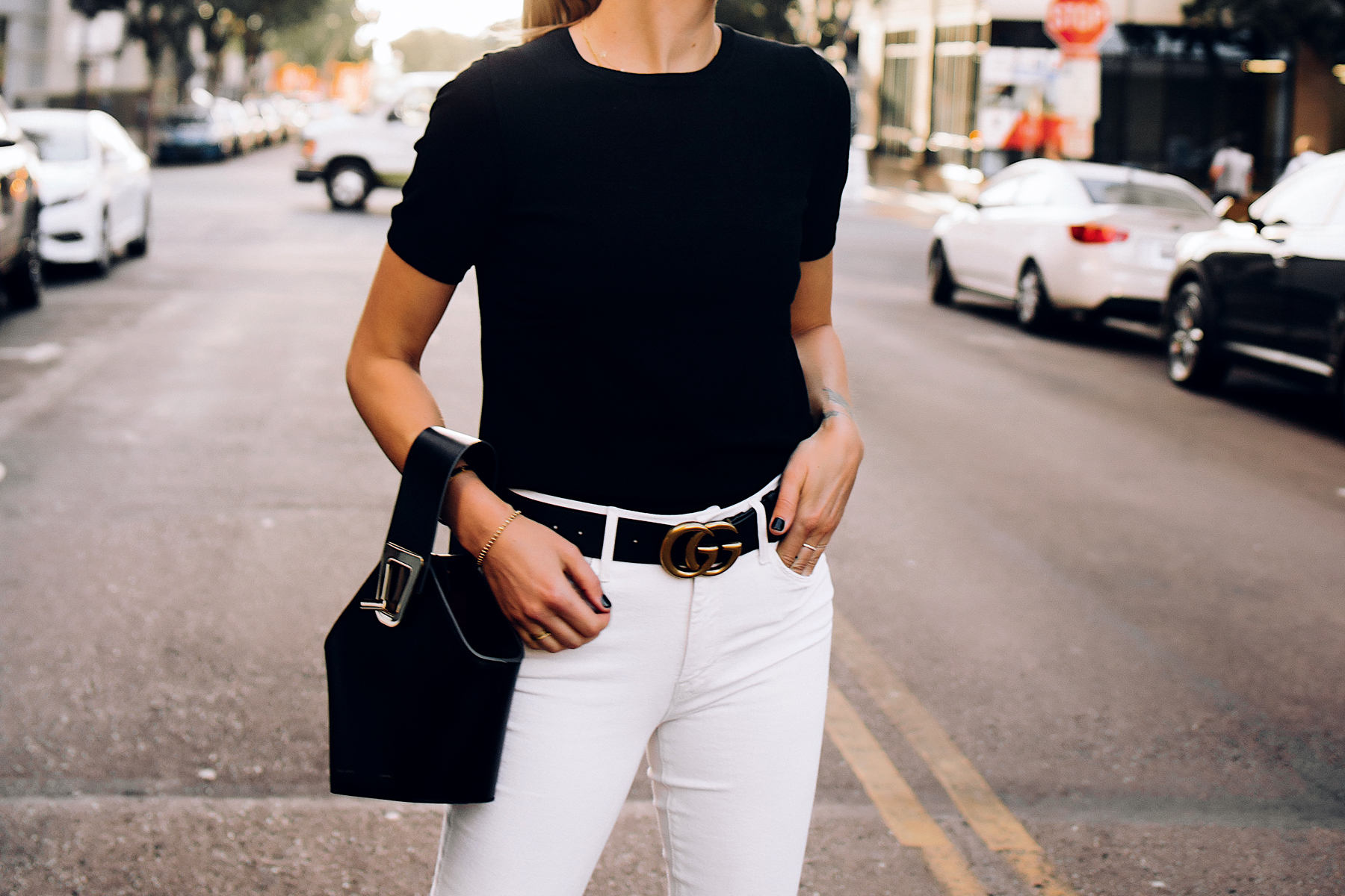 Woman Wearing Ann Taylor Black Short Sleeve Sweater White Jeans Black Gucci Belt Black Danse Lente Bucket Bag Fashion Jackson San Diego Fashion Blogger Street Style