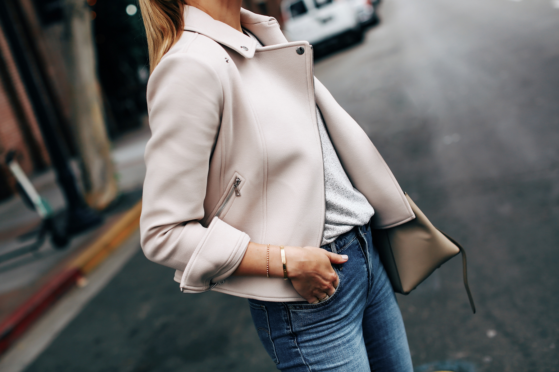 Woman Wearing Ann Taylor Blush Moto Jacket Fashion Jackson San Diego Fashion Blogger Street Style