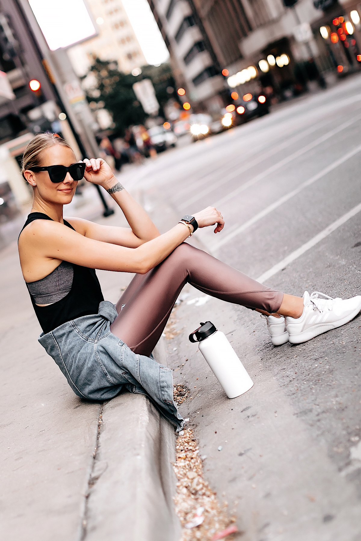 Blonde Woman Wearing Athleisure Activewear Outfit Alo Black Workout Tank Nike Mauve Leggings Denim Jacket Black Sunglasses Fashion Jackson San Diego Fashion Blogger Street Style