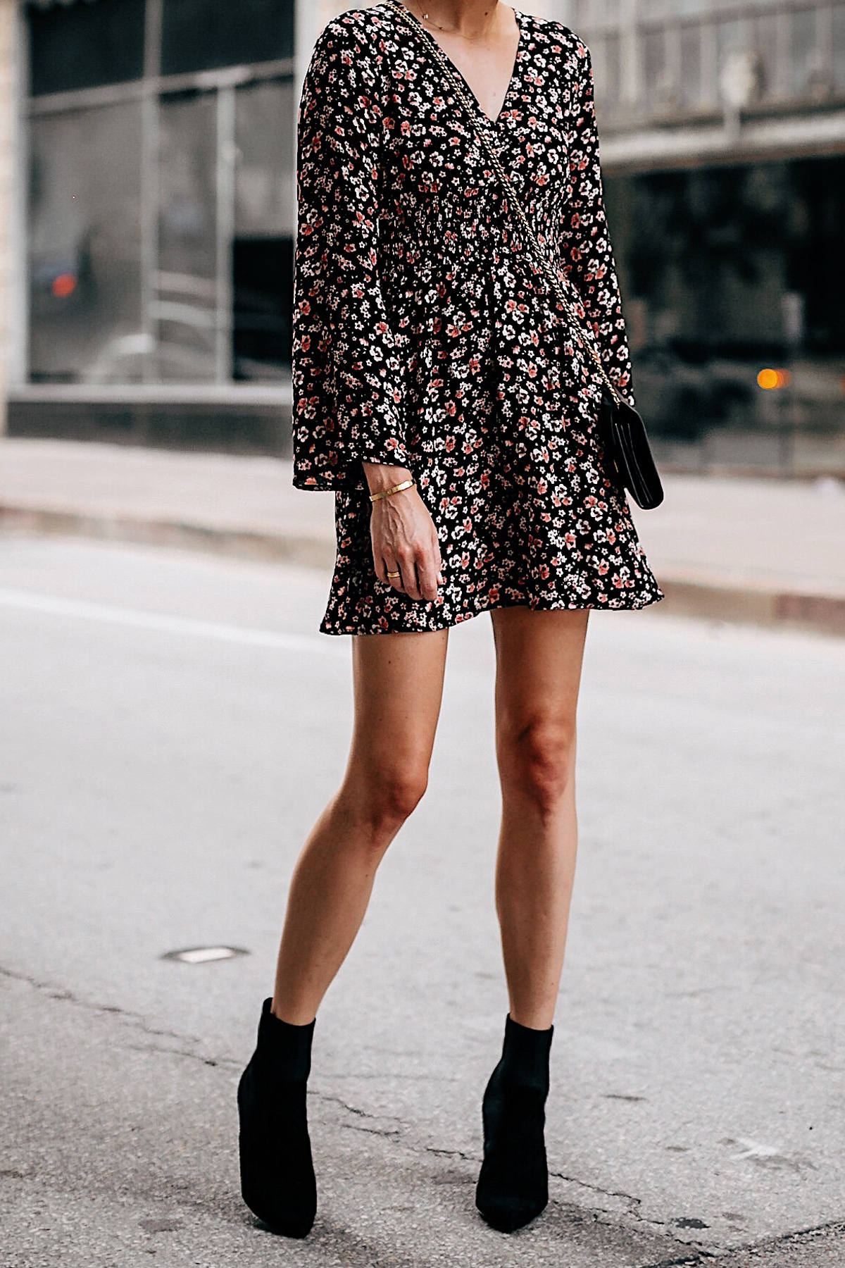 Woman Wearing Black Floral Long Sleeve Mini Dress Black Heeled Ankle Booties Fashion Jackson San Diego Fashion Blogger Street Style