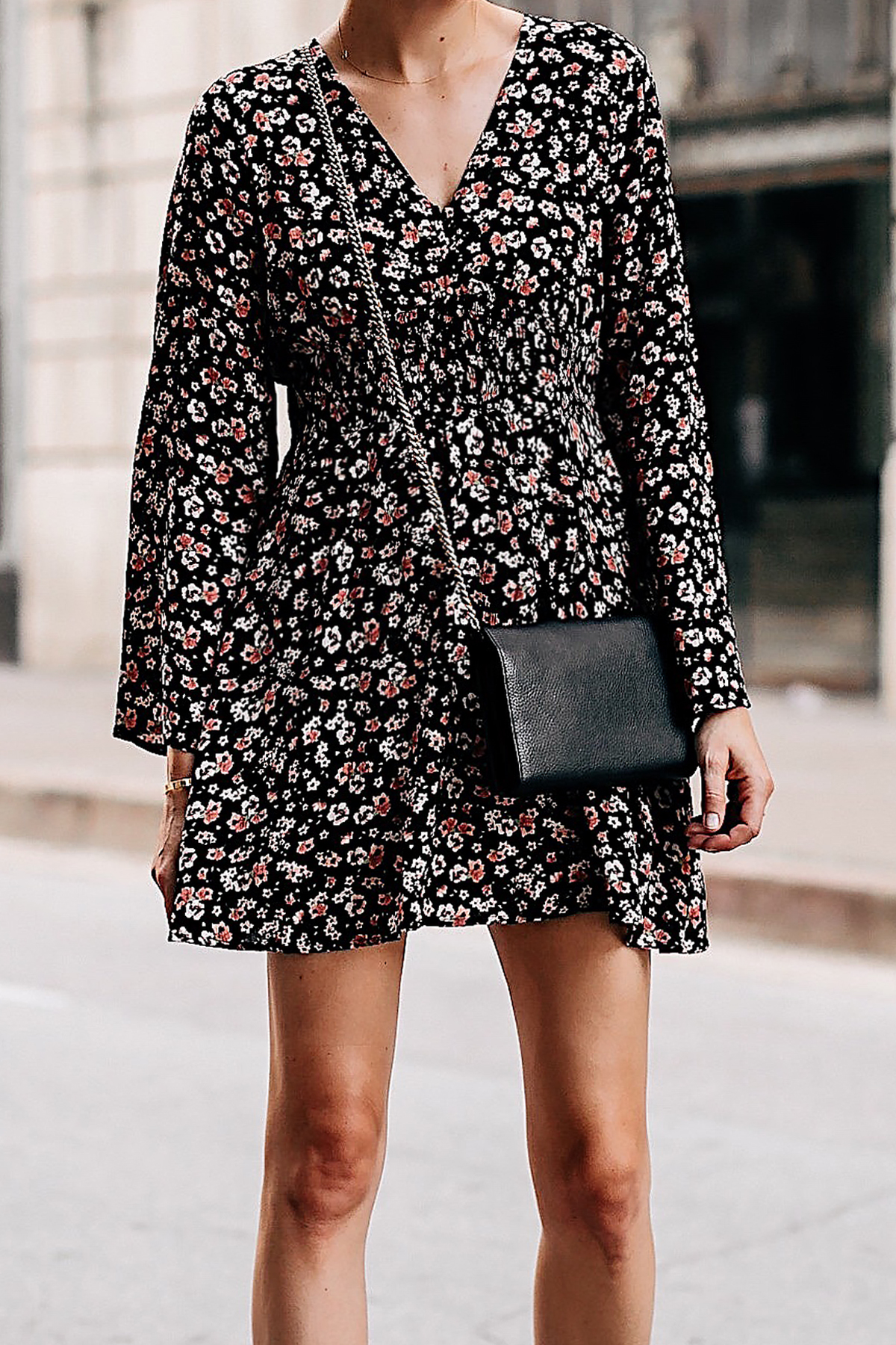 Blonde Woman Wearing Black Floral Long Sleeve Mini Dress Gold Chain Black Crossbody Handbag Fashion Jackson San Diego Fashion Blogger Street Style