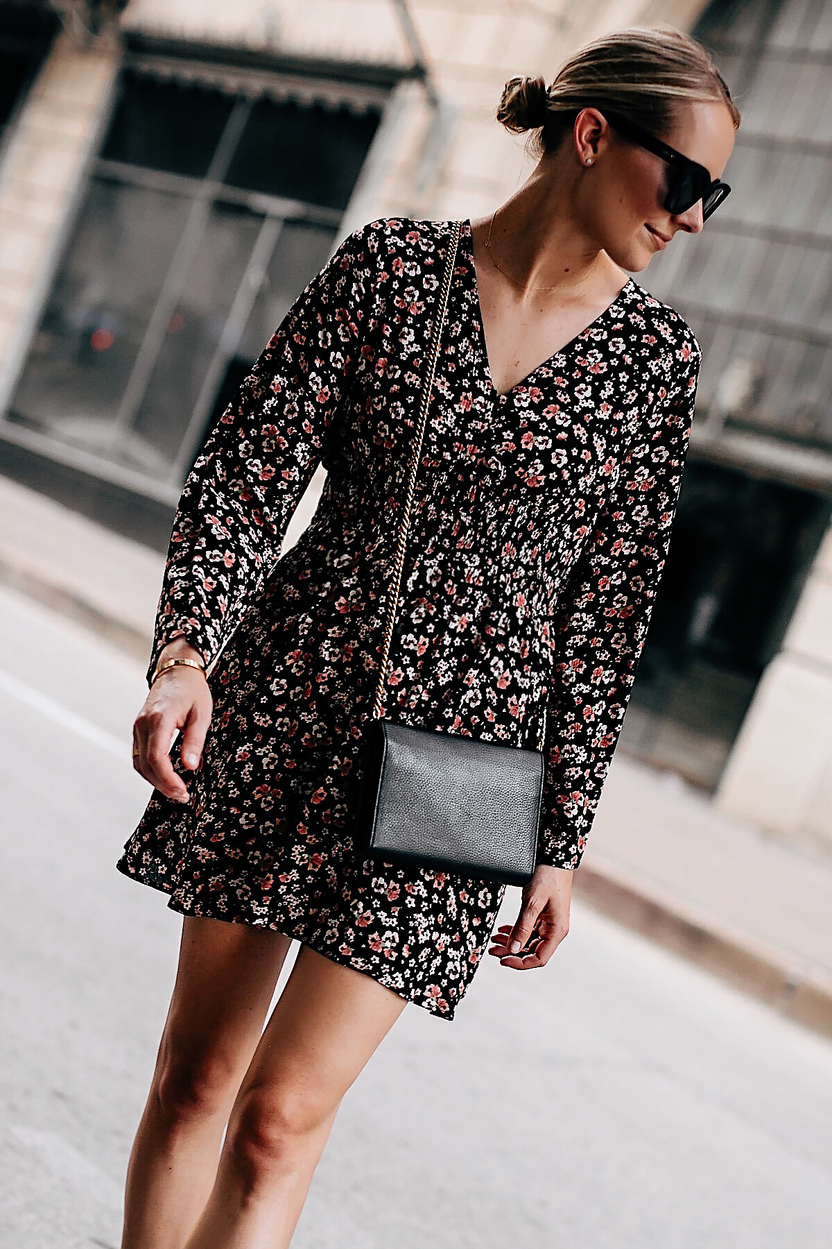 Blonde Woman Wearing Black Floral Long Sleeve Mini Dress Gold Chain Black Crossbody Handbag Black Sunglasses Fashion Jackson San Diego Fashion Blogger Street Style