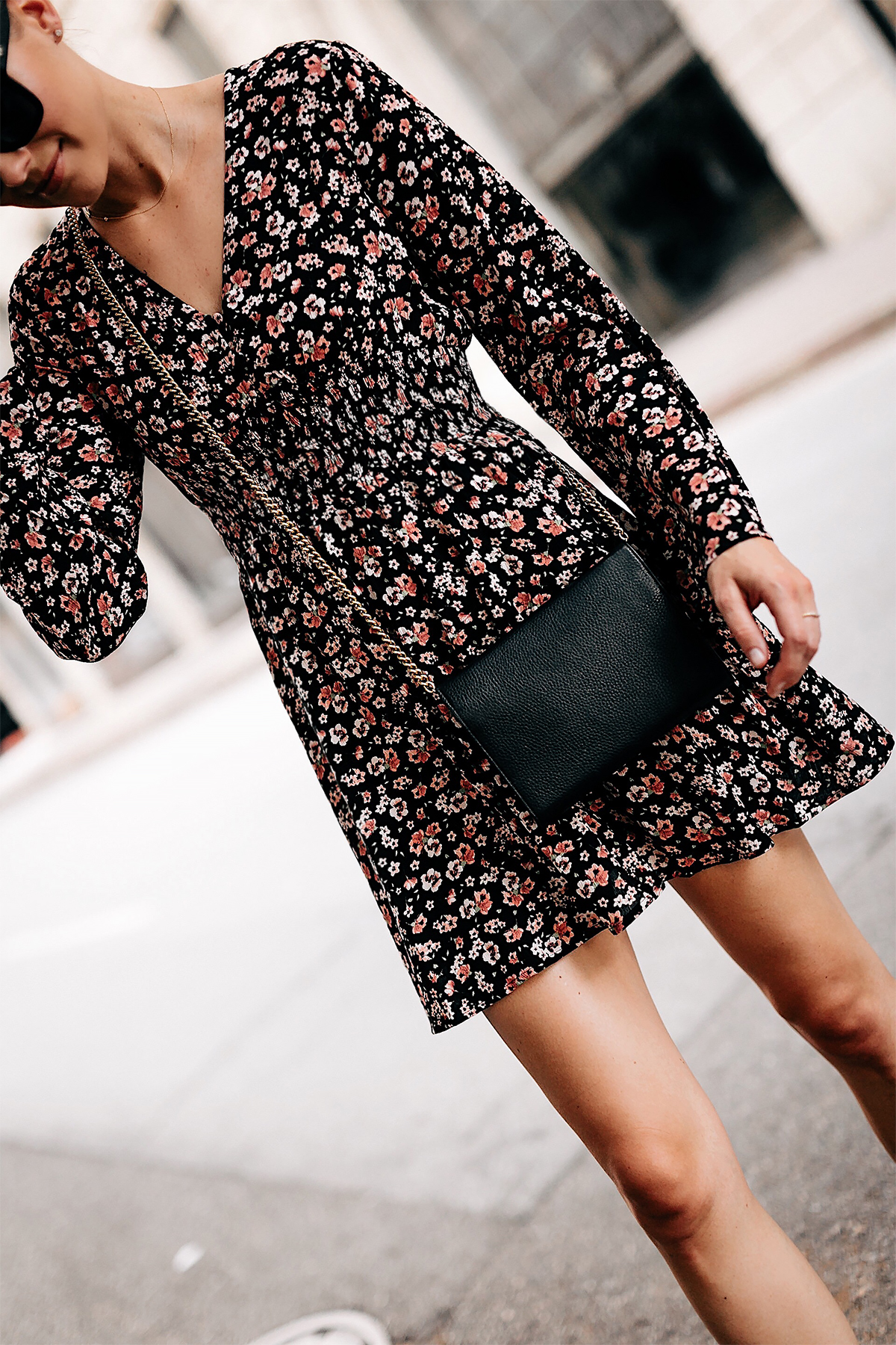 Woman Wearing Black Floral Long Sleeve Mini Dress Gold Chain Black Crossbody Handbag Fashion Jackson San Diego Fashion Blogger Street Style