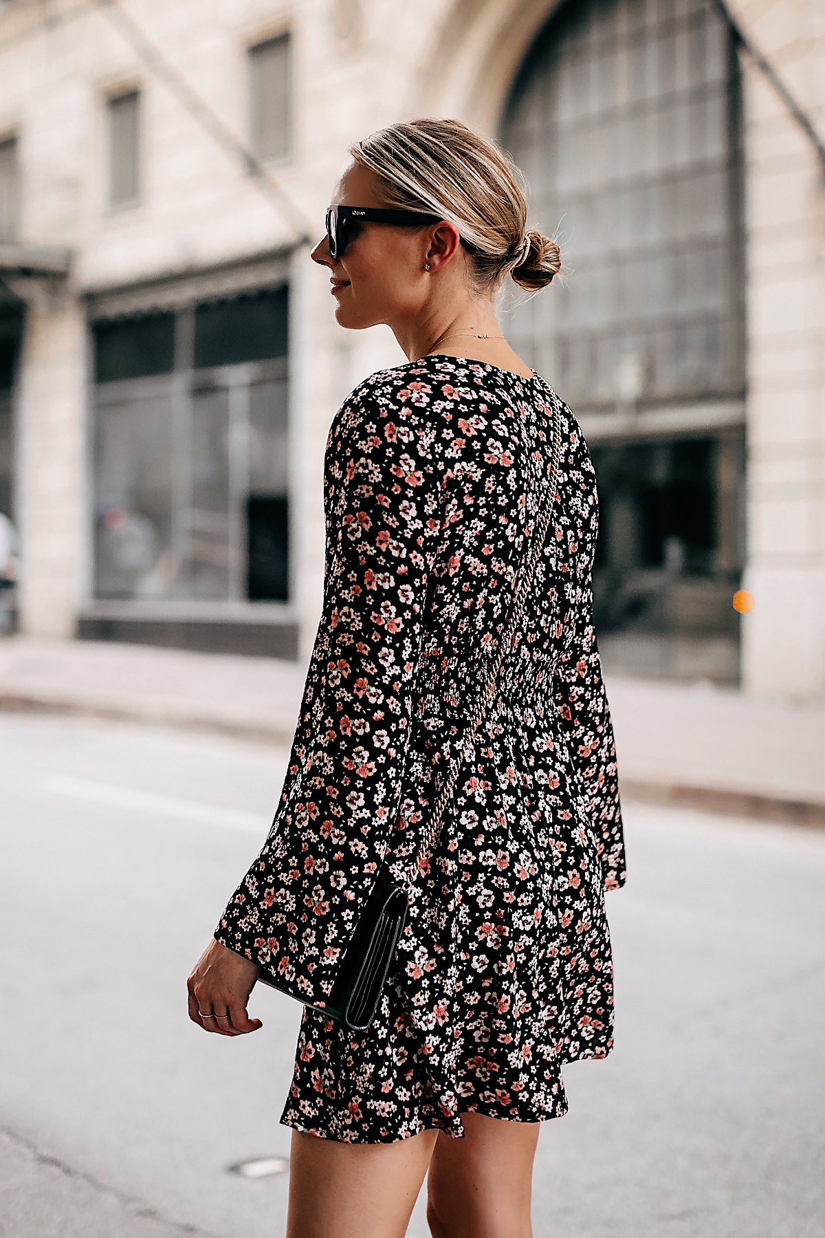 Blonde Woman Wearing Black Floral Long Sleeve Mini Dress Fashion Jackson San Diego Fashion Blogger Street Style
