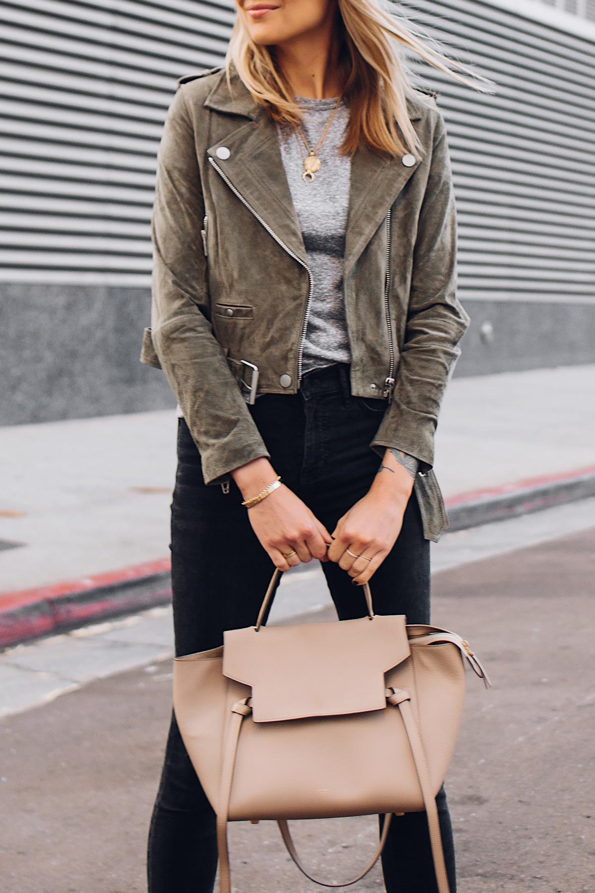 Blonde Woman Wearing Blanknyc Green Suede Moto Jacket Grey Tshirt Black Ripped Skinny Jeans Celine Mini Belt Bag Fashion Jackson San Diego Fashion Blogger Street Style