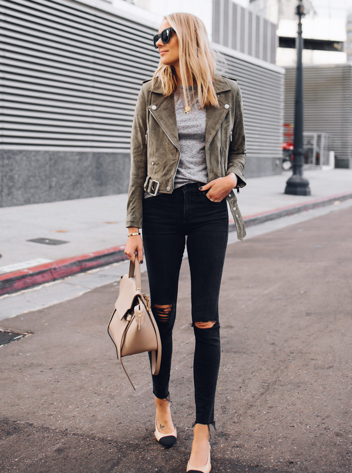Blonde Woman Wearing Blanknyc Green Suede Moto Jacket Grey Tshirt Black Ripped Skinny Jeans Chanel Slingbacks Celine Mini Belt Bag Fashion Jackson San Diego Fashion Blogger Street Style