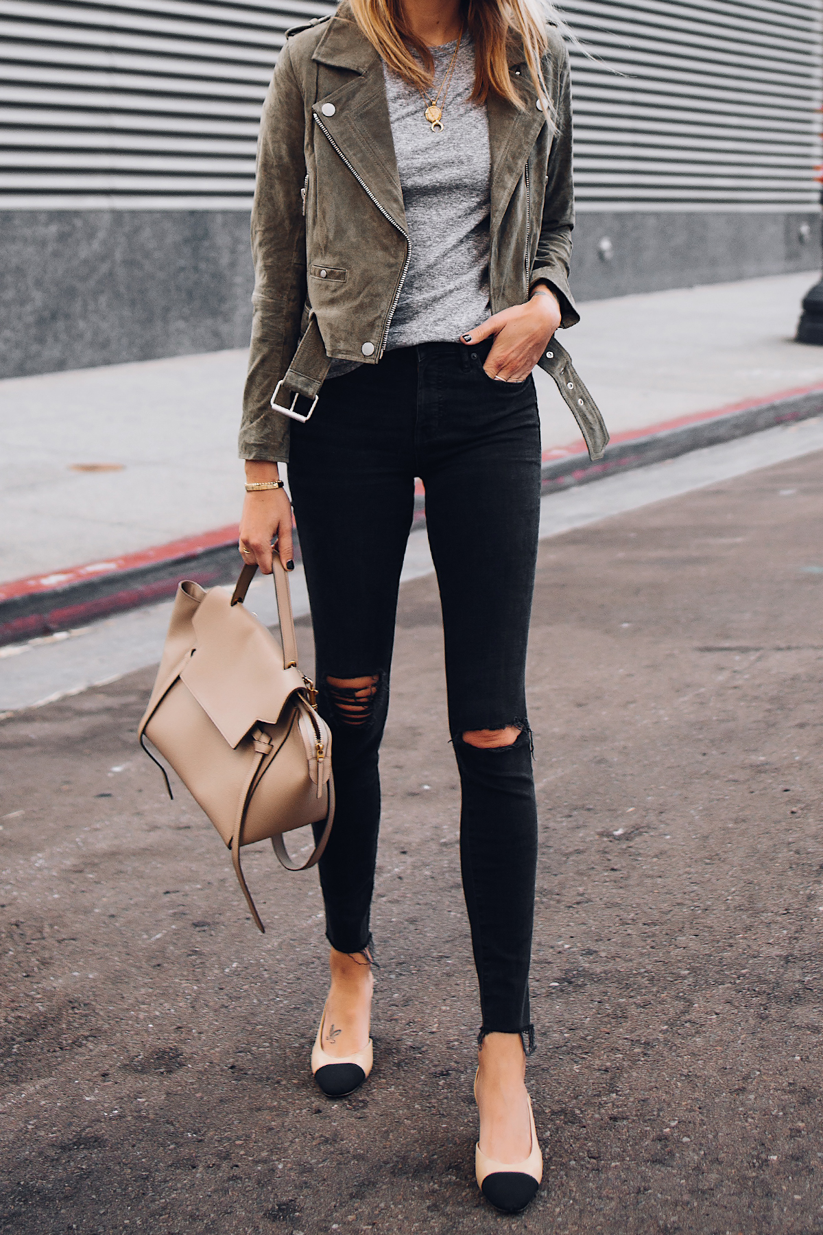 Woman Wearing Blanknyc Green Suede Moto Jacket Grey Tshirt Black Ripped Skinny Jeans Chanel Slingbacks Celine Mini Belt Bag Fashion Jackson San Diego Fashion Blogger Street Style