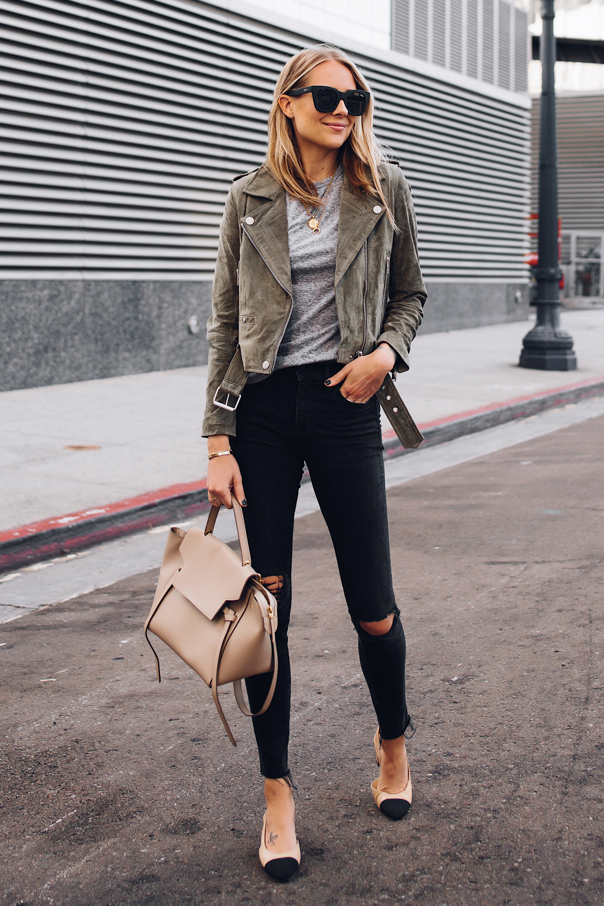 Blonde Woman Wearing Blanknyc Green Suede Moto Jacket Grey Tshirt Black Ripped Skinny Jeans Chanel Slingbacks Celine Mini Belt Bag Fashion Jackson San Diego Fashion Blogger Street Style