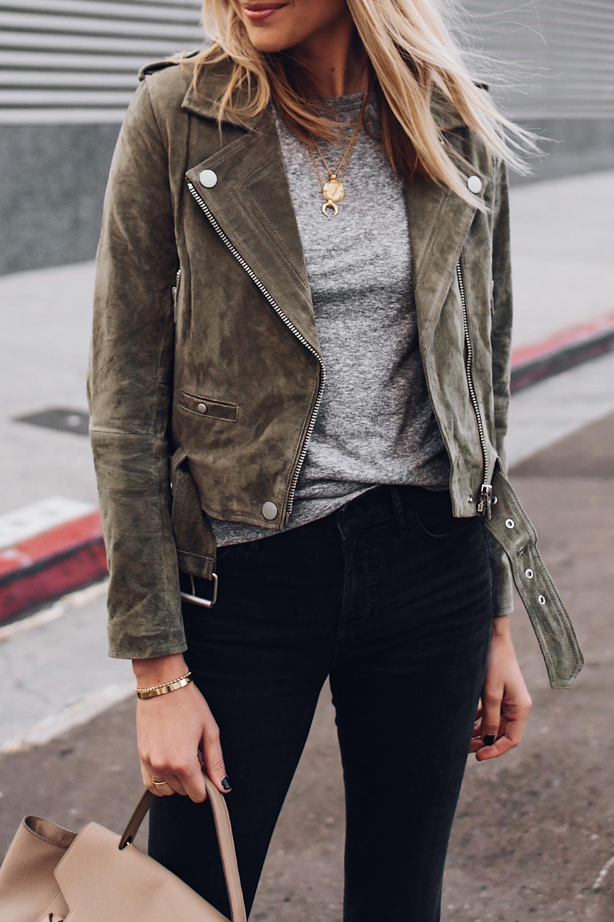 Blonde Woman Wearing Blanknyc Green Suede Moto Jacket Grey Tshirt Black Ripped Skinny Jeans Fashion Jackson San Diego Fashion Blogger Street Style
