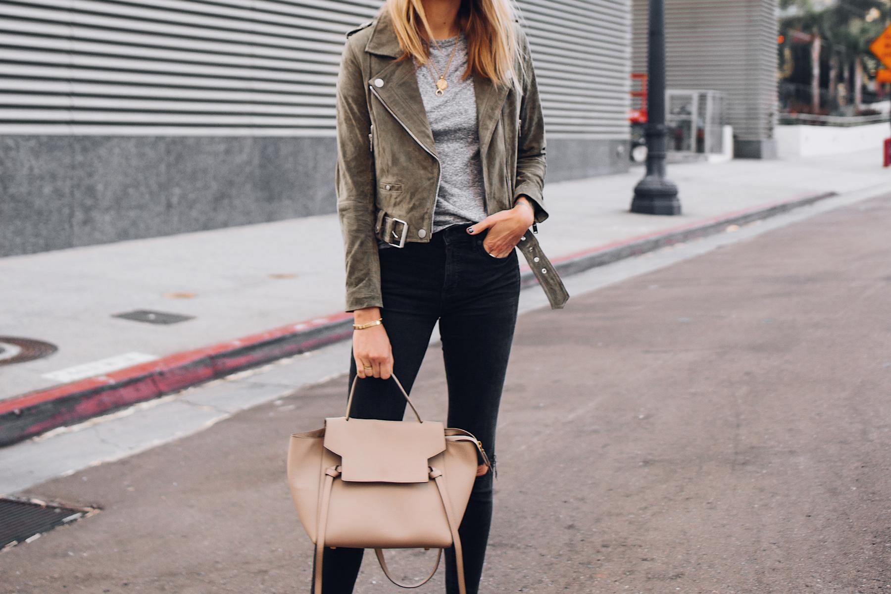 Blonde Woman Wearing Blanknyc Green Suede Moto Jacket Grey Tshirt Black Skinny Jeans Celine Mini Belt Bag Fashion Jackson San Diego Fashion Blogger Street Style