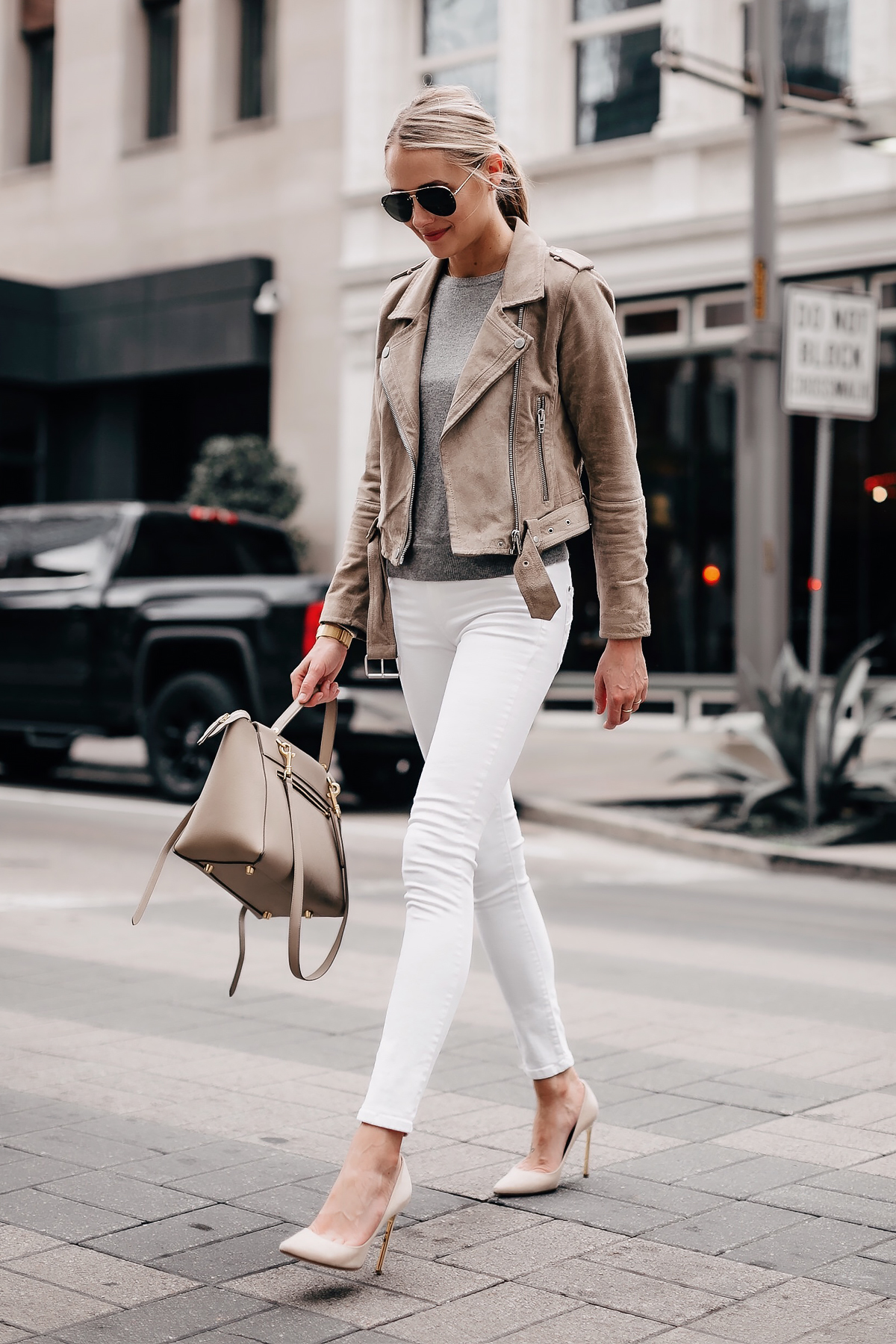 Blonde Woman Wearing Blanknyc Suede Moto Jacket Tan Grey Sweater White Skinny Jeans Nude Pumps Celine Mini Belt Bag Fashion Jackson San Diego Fashion Blogger Street Style