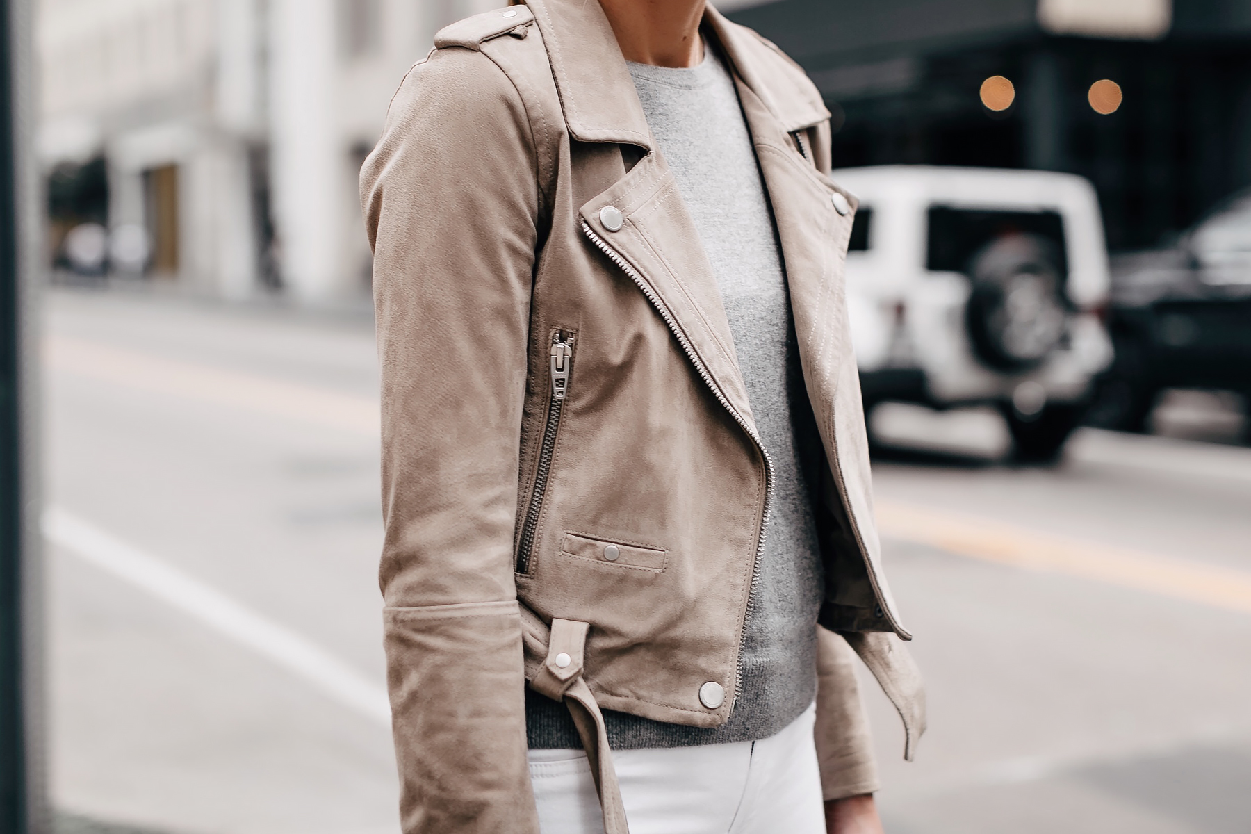 Woman Wearing Blanknyc Suede Moto Jacket Tan Grey Sweater Fashion Jackson San Diego Fashion Blogger Street Style