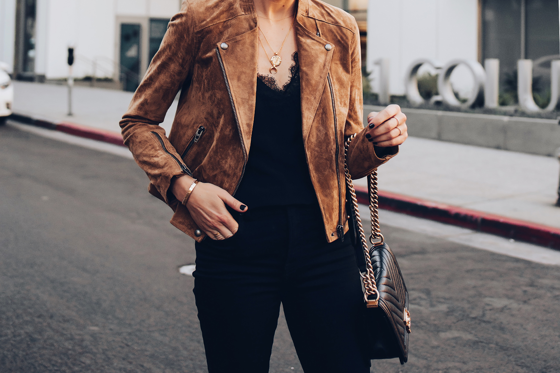 Woman Wearing Blanknyc Tan Suede Moto Jacket Black Lacet Cami Black Jeans Chanel Black Boy Bag Fashion Jackson San Diego Fashion Blogger Street Style