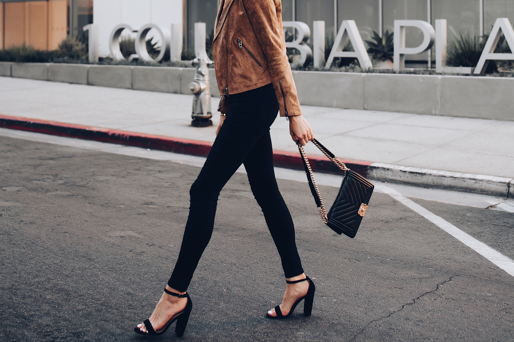 Woman Wearing Blanknyc Tan Suede Moto Jacket Everlane Black Skinny Jeans Black Ankle Strap Heeled Sandals Chanel Black Boy Bag Fashion Jackson San Diego Fashion Blogger Street Style