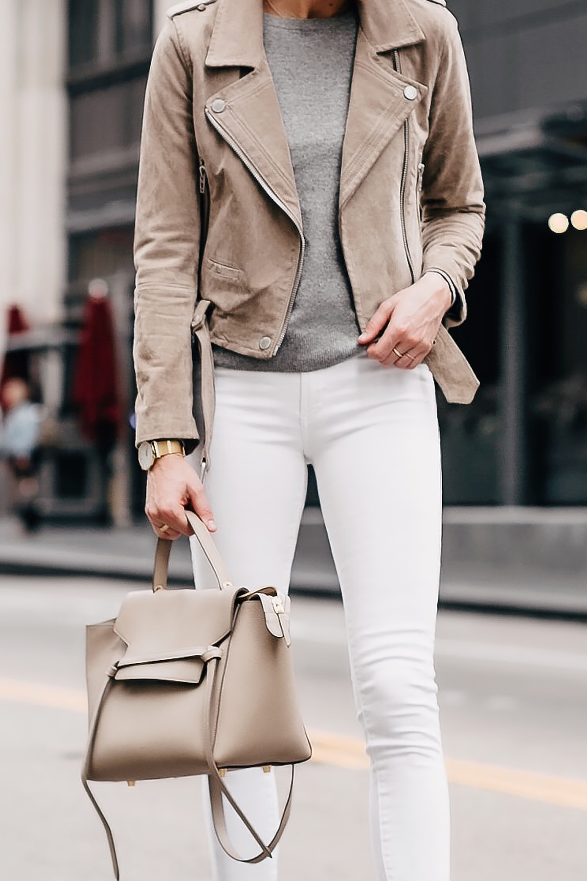 Woman Wearing Blanknyc Tan Suede Moto Jacket Grey Sweater White Skinny Jeans Celine Mini Belt Bag Fashion Jackson San Diego Fashion Blogger Street Style