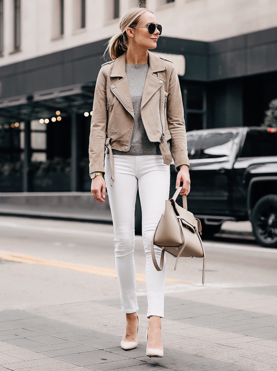 Blonde Woman Wearing Blanknyc Tan Suede Moto Jacket Grey Sweater White Skinny Jeans Nude Pumps Celine Mini Belt Bag Fashion Jackson San Diego Fashion Blogger Street Style