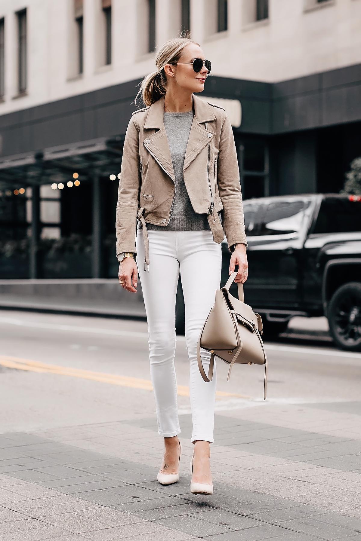 1933d3aced1 Blonde Woman Wearing Blanknyc Tan Suede Moto Jacket Grey Sweater White Skinny  Jeans Nude Pumps Celine