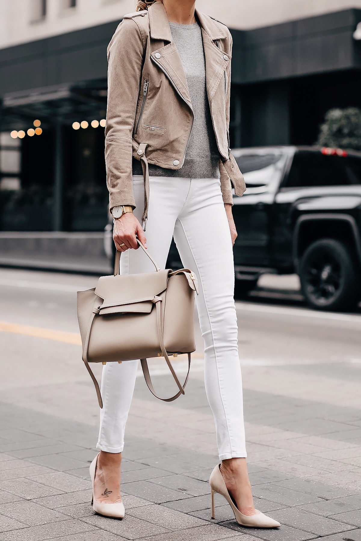 Blonde Woman Wearing Blanknyc Tan Suede Moto Jacket Grey Sweater White Skinny Jeans Nude Pumps Celine Taupe Mini Belt Bag Fashion Jackson San Diego Fashion Blogger Street Style