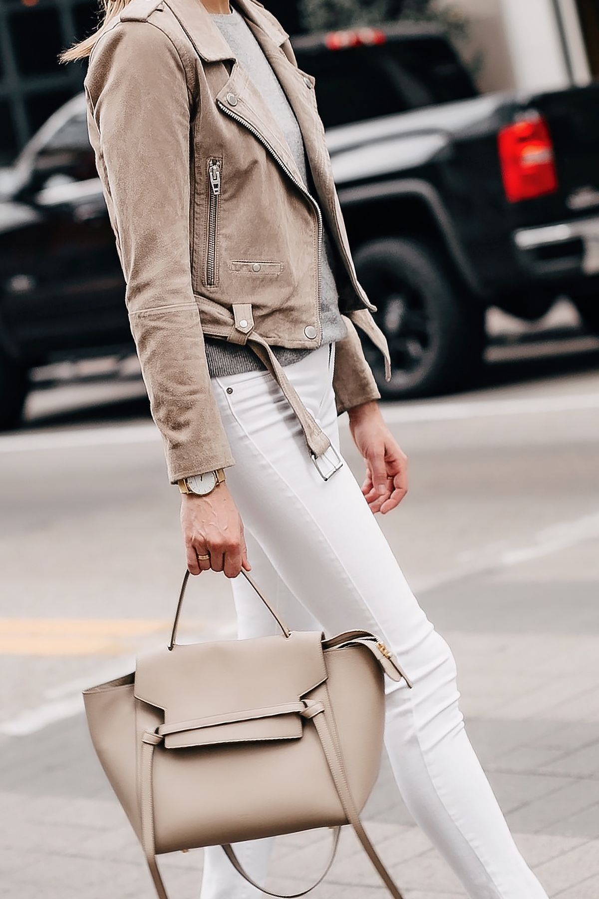 Woman Wearing Blanknyc Tan Suede Moto Jacket White Skinny Jeans Celine Taupe Mini Belt Bag Fashion Jackson San Diego Fashion Blogger Street Style