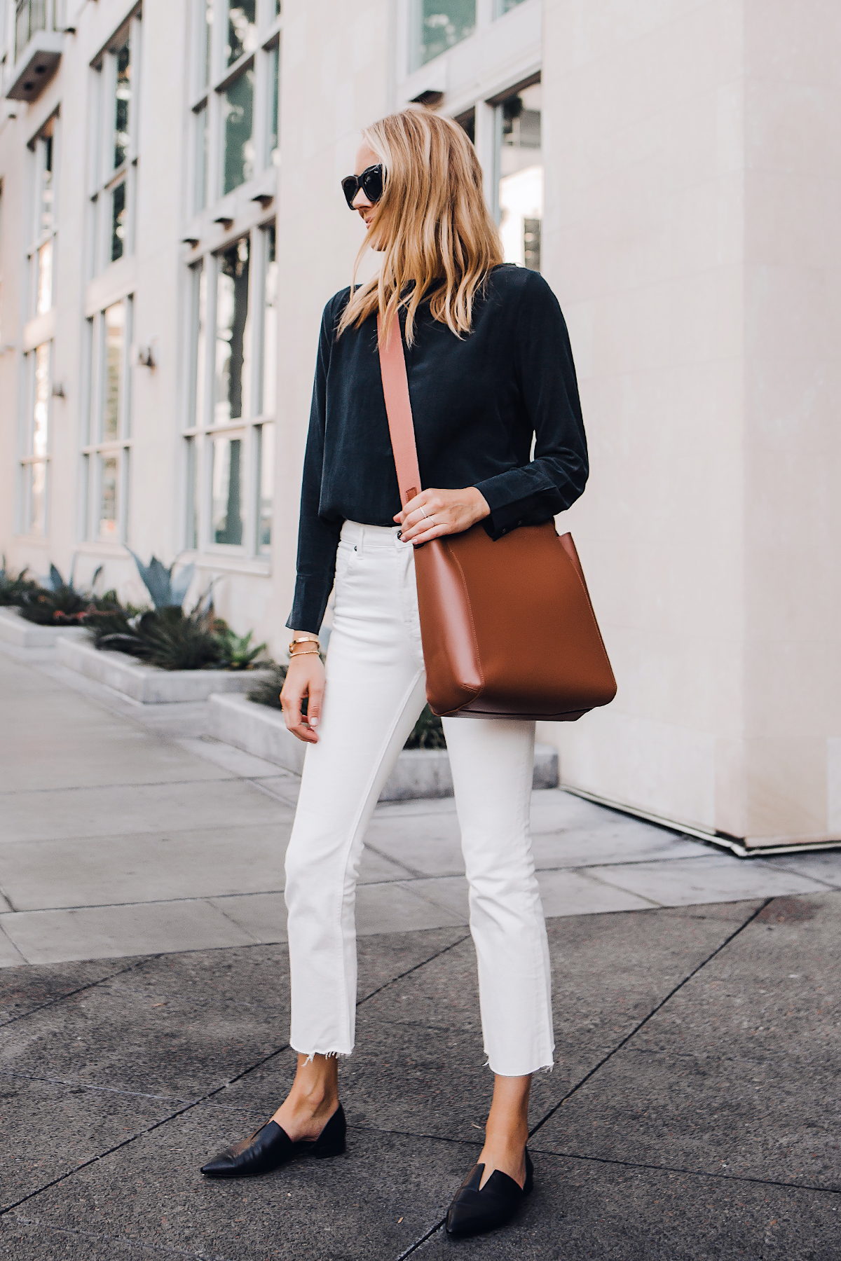 Blonde Woman Wearing Everlane Black Silk Long Sleeve Top Everlane White Cropped Jeans Everlane Brown Messenger Bag Vince Black Flats Fashion Jackson San Diego Fashion Blogger Street Style