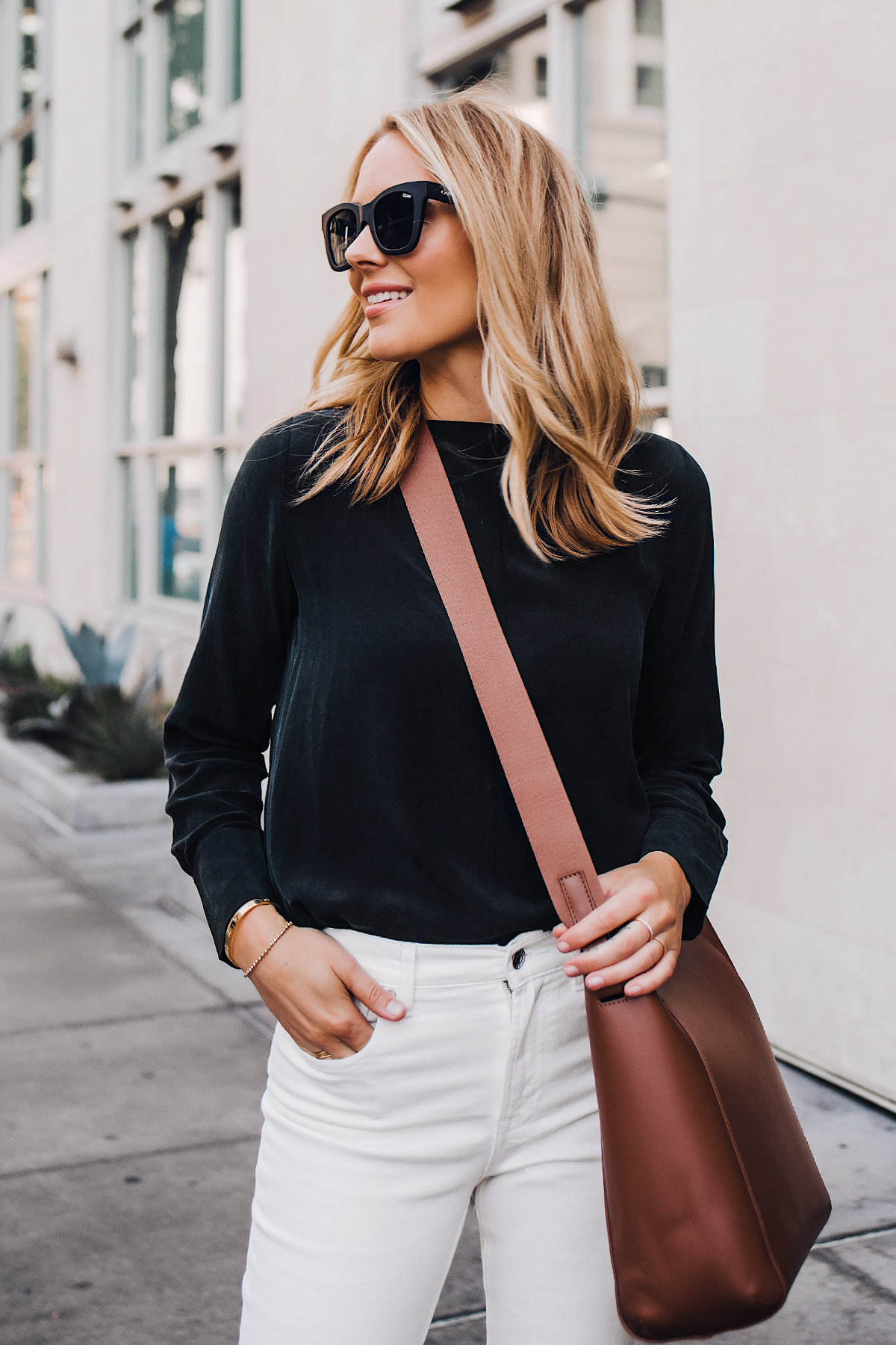 Blonde Woman Wearing Everlane Form Bag Brown Messenger Handbag Everlane Black Silk Long Sleeve Top Everlane White Jeans Fashion Jackson San Diego Fashion Blogger Street Style