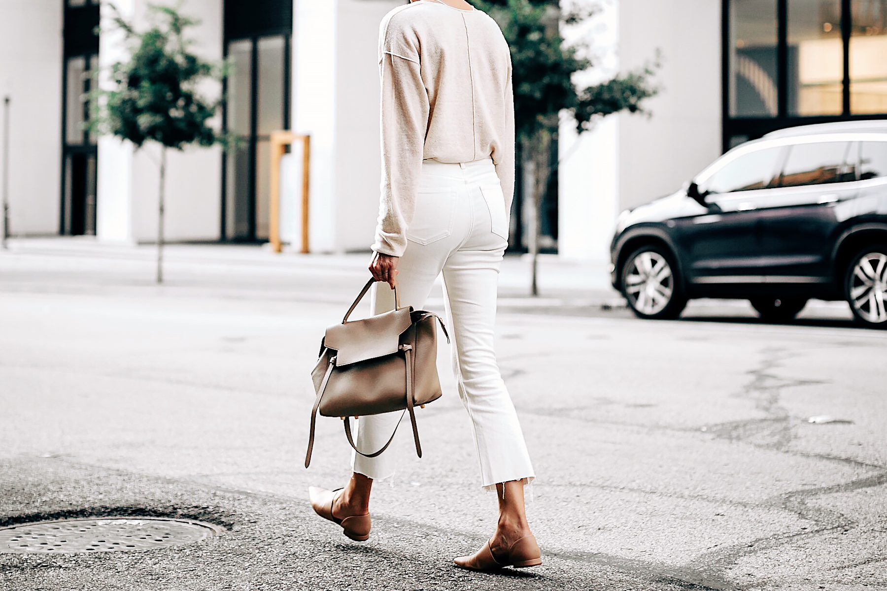 Woman Wearing Free People Ivory Cashmere Sweater Everlane White Cropped Jeans Vince Blush Flats Celine Mini Belt Bag Fashion Jackson San Diego Fashion Blogger Street Style