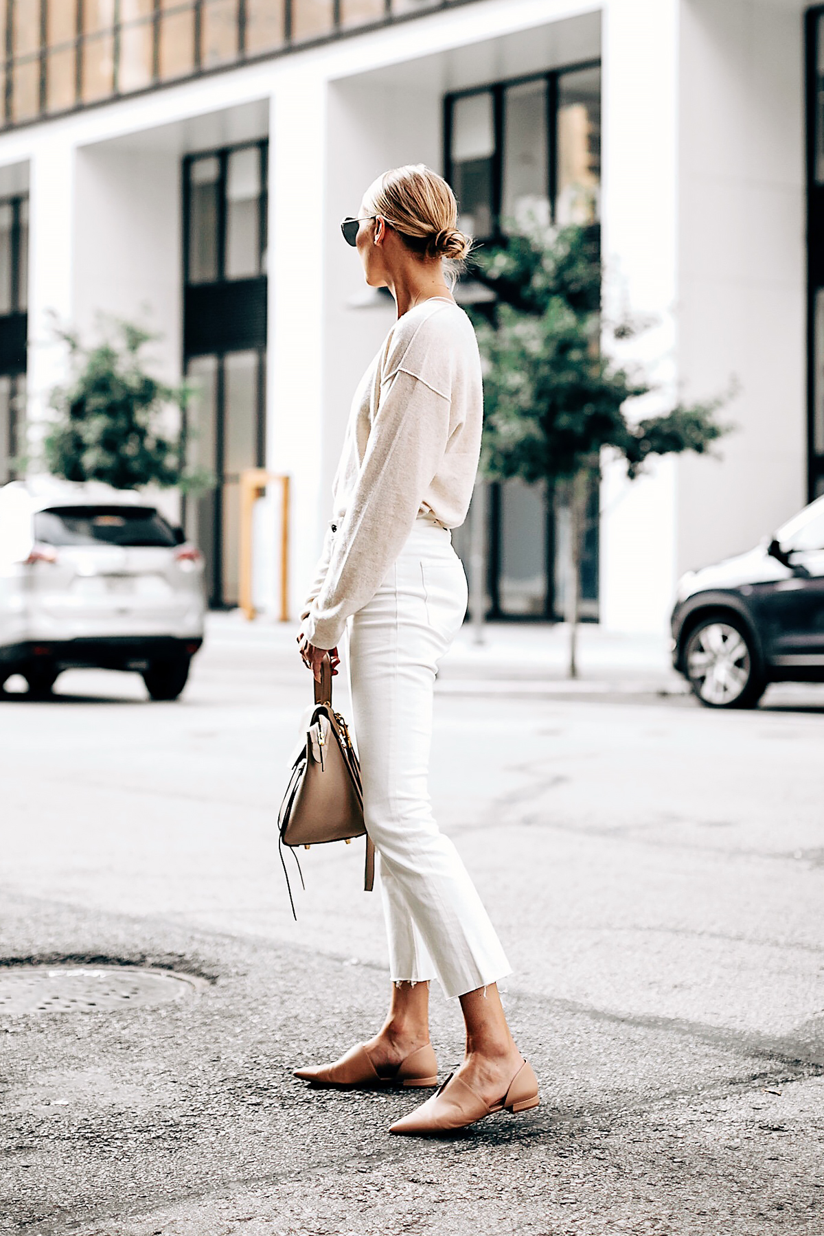 Blonde Woman Wearing Free People Ivory Cashmere Sweater Everlane White Cropped Jeans Vince Blush Flats Celine Mini Belt Bag Fashion Jackson San Diego Fashion Blogger Street Style