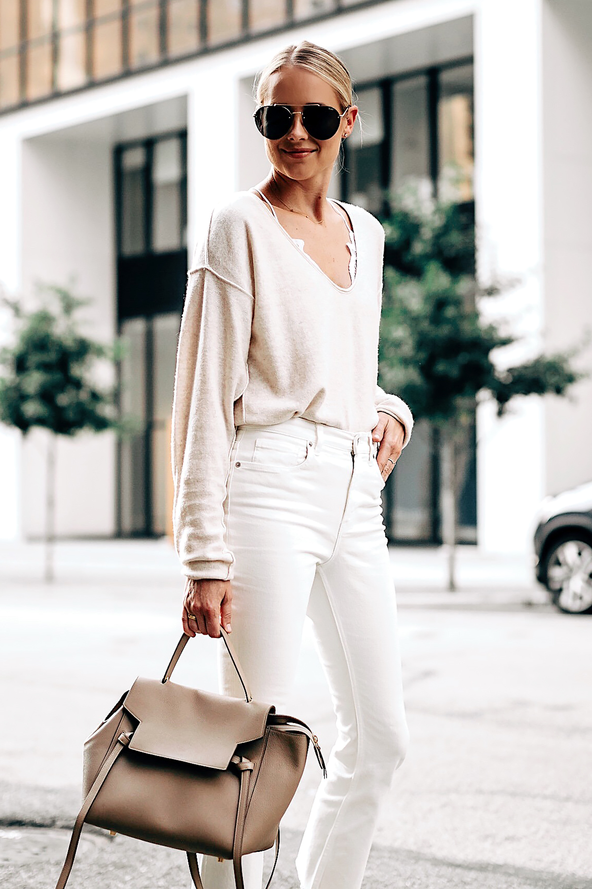 Blonde Woman Wearing Free People Ivory Cashmere Sweater White Lace Bralette Everlane White Cropped Jeans Celine Mini Belt Bag Aviator Sunglasses Fashion Jackson San Diego Fashion Blogger Street Style
