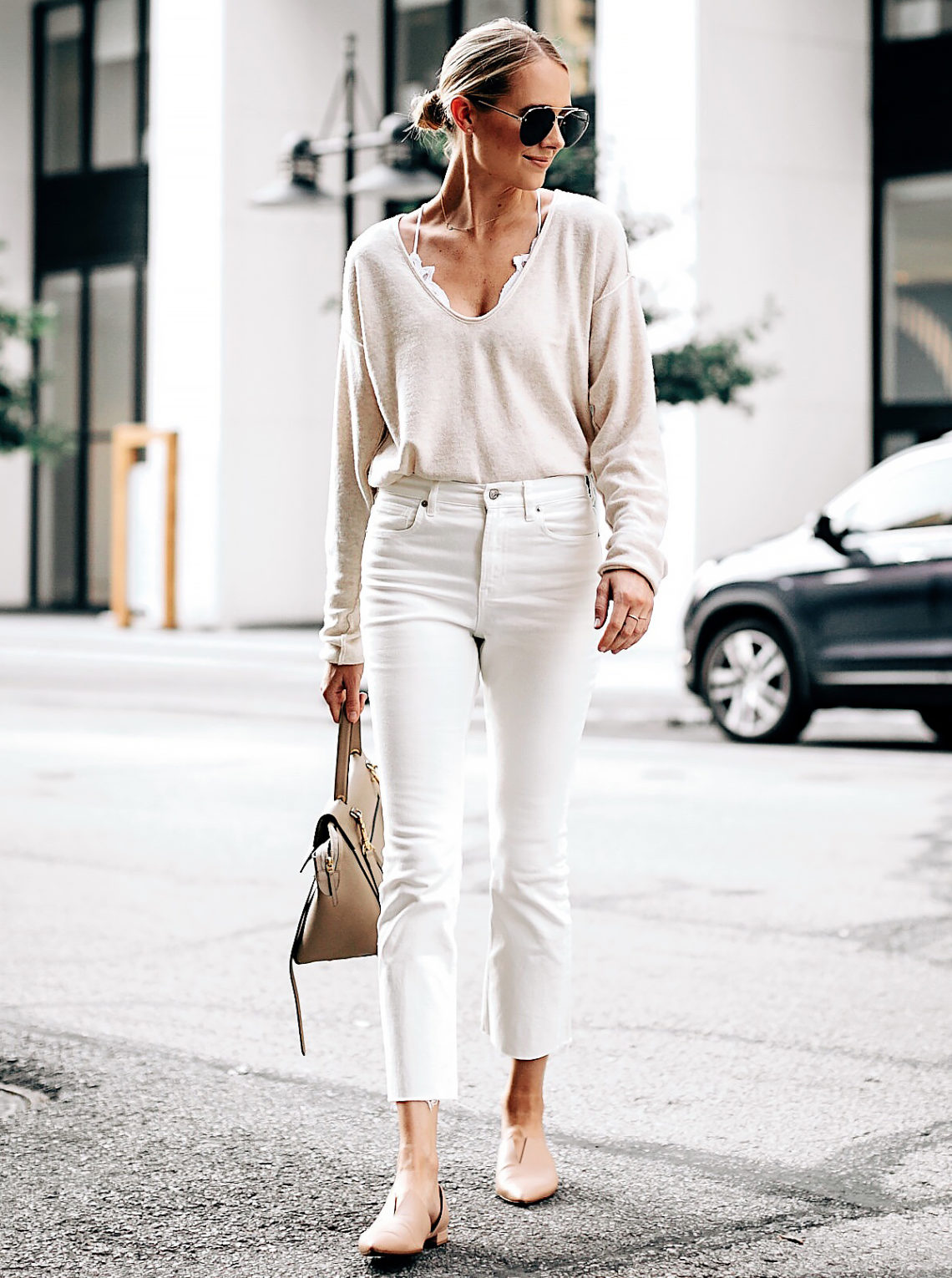 Blonde Woman Wearing Free People Ivory Cashmere Sweater White Lace Bralette Everlane White Cropped Jeans Vince Blush Flats Celine Mini Belt Bag Aviator Sunglasses Fashion Jackson San Diego Fashion Blogger Street Style