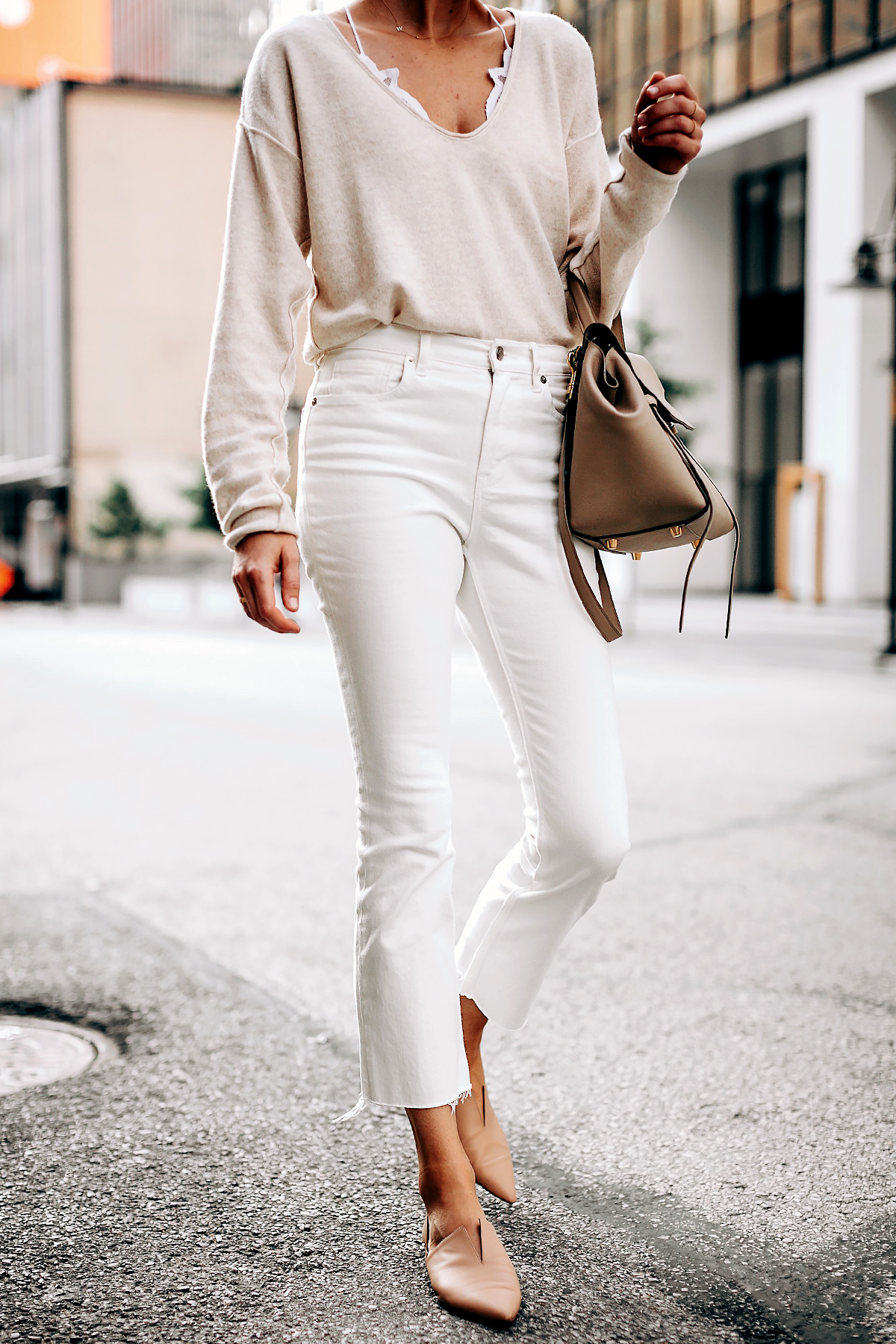 Woman Wearing Free People Ivory Cashmere Sweater White Lace Bralette Everlane White Cropped Jeans Vince Blush Flats Celine Mini Belt Bag Fashion Jackson San Diego Fashion Blogger Street Style