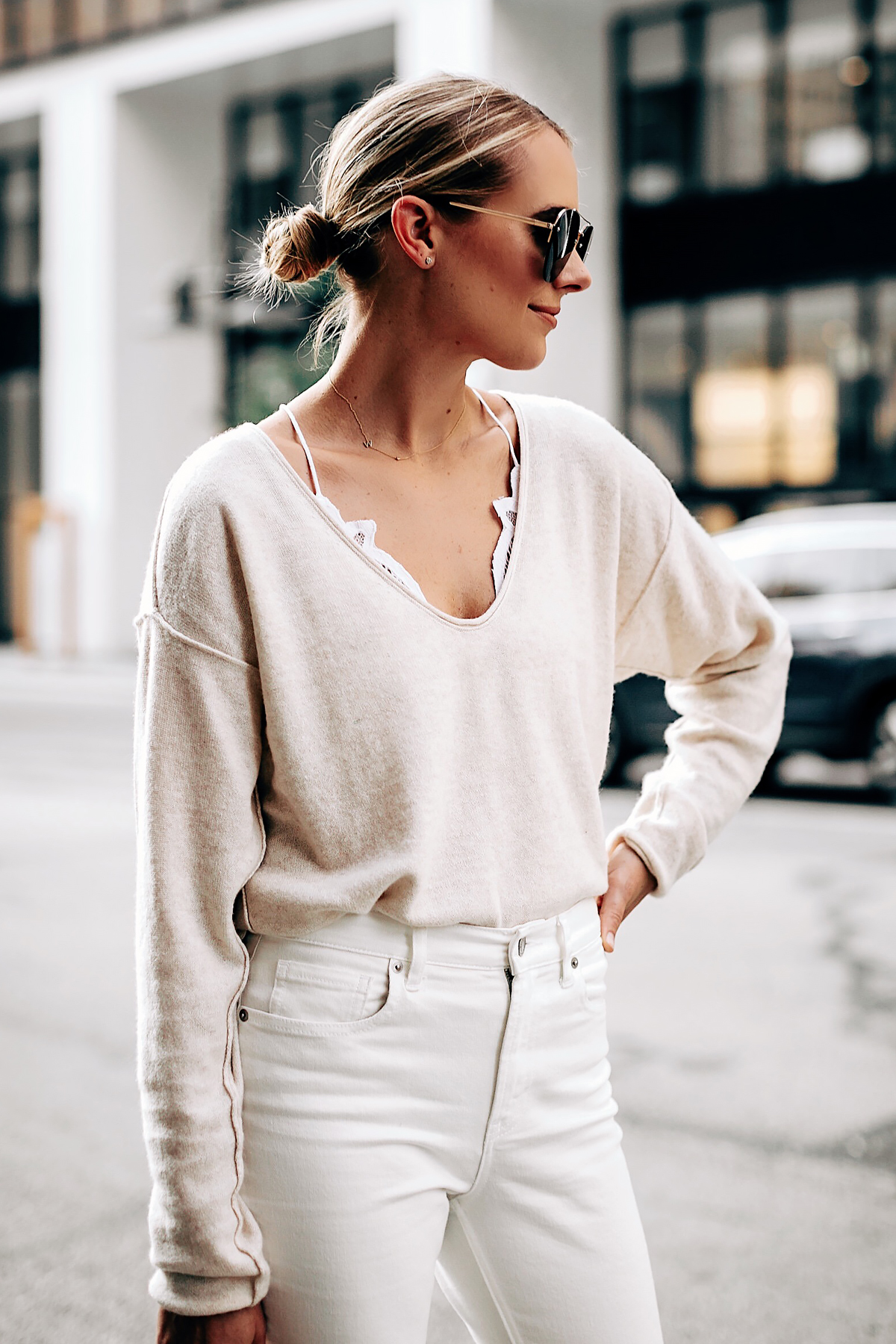Blonde Woman Wearing Free People Ivory Cashmere Sweater White Lace Bralette Everlane White Jeans Fashion Jackson San Diego Fashion Blogger Street Style