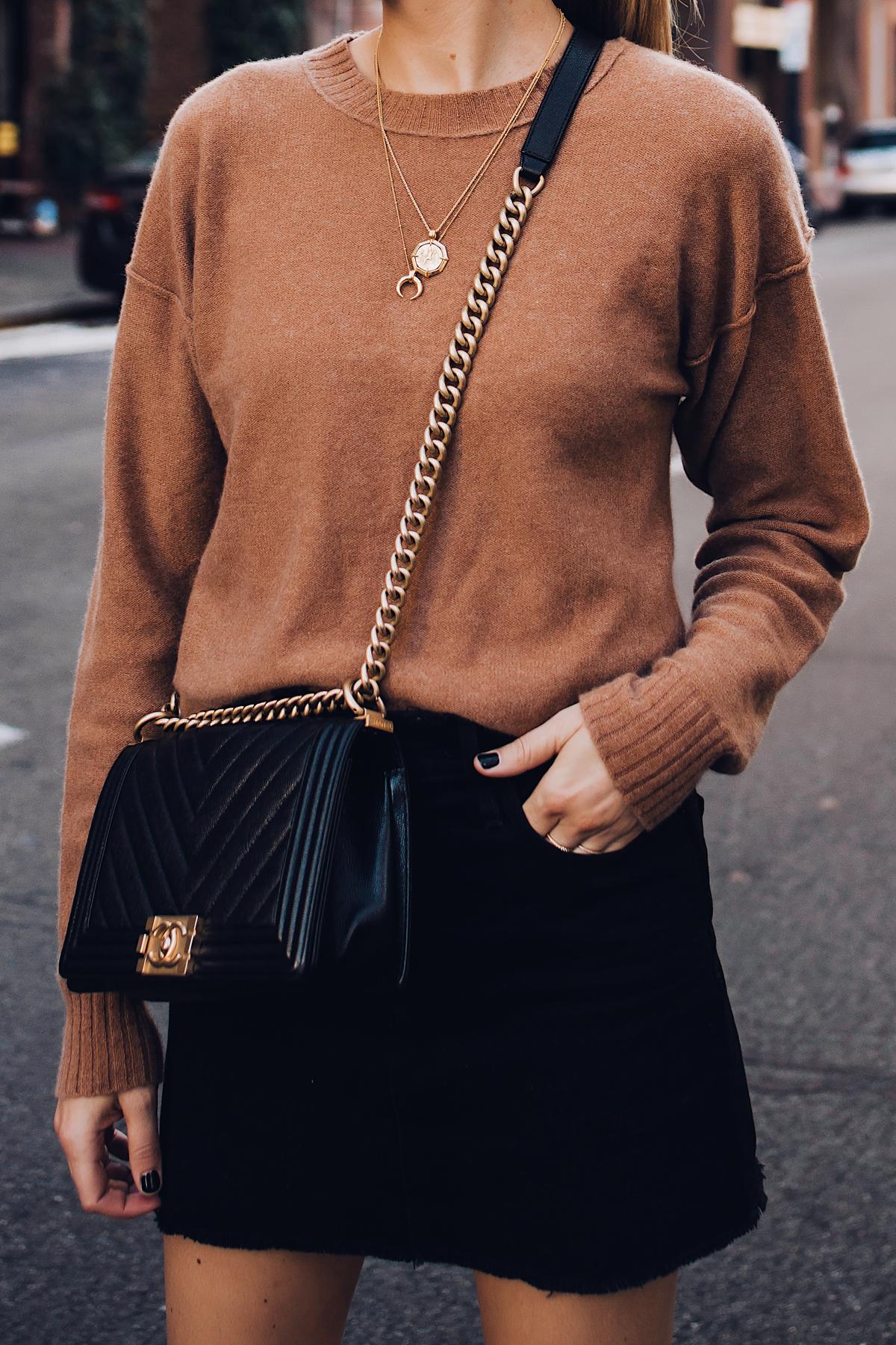 Woman Wearing Free People Tan Sweater Black Denim Skirt Chanel Black Boy Bag Fashion Jackson San Diego Fashion Blogger Street Style