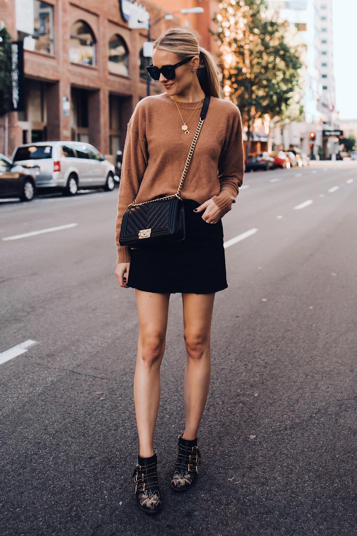 Blonde Woman Wearing Free People Tan Sweater Black Denim Skirt Outfit Chanel Black Boy Bag Chloe Susanna Blacks Booties Fashion Jackson San Diego Fashion Blogger Street Style