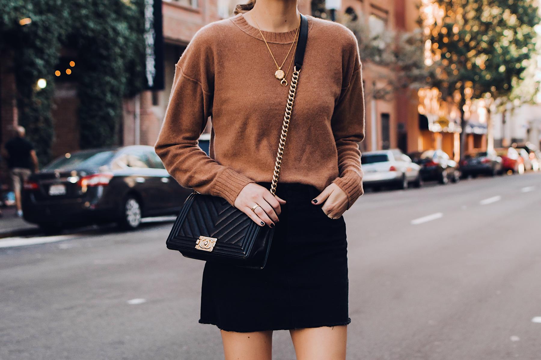 Woman Wearing Free People Tan Sweater Black Denim Skirt Chanel Black Boy Bag Gold Layered Necklaces Fashion Jackson San Diego Fashion Blogger Street Style