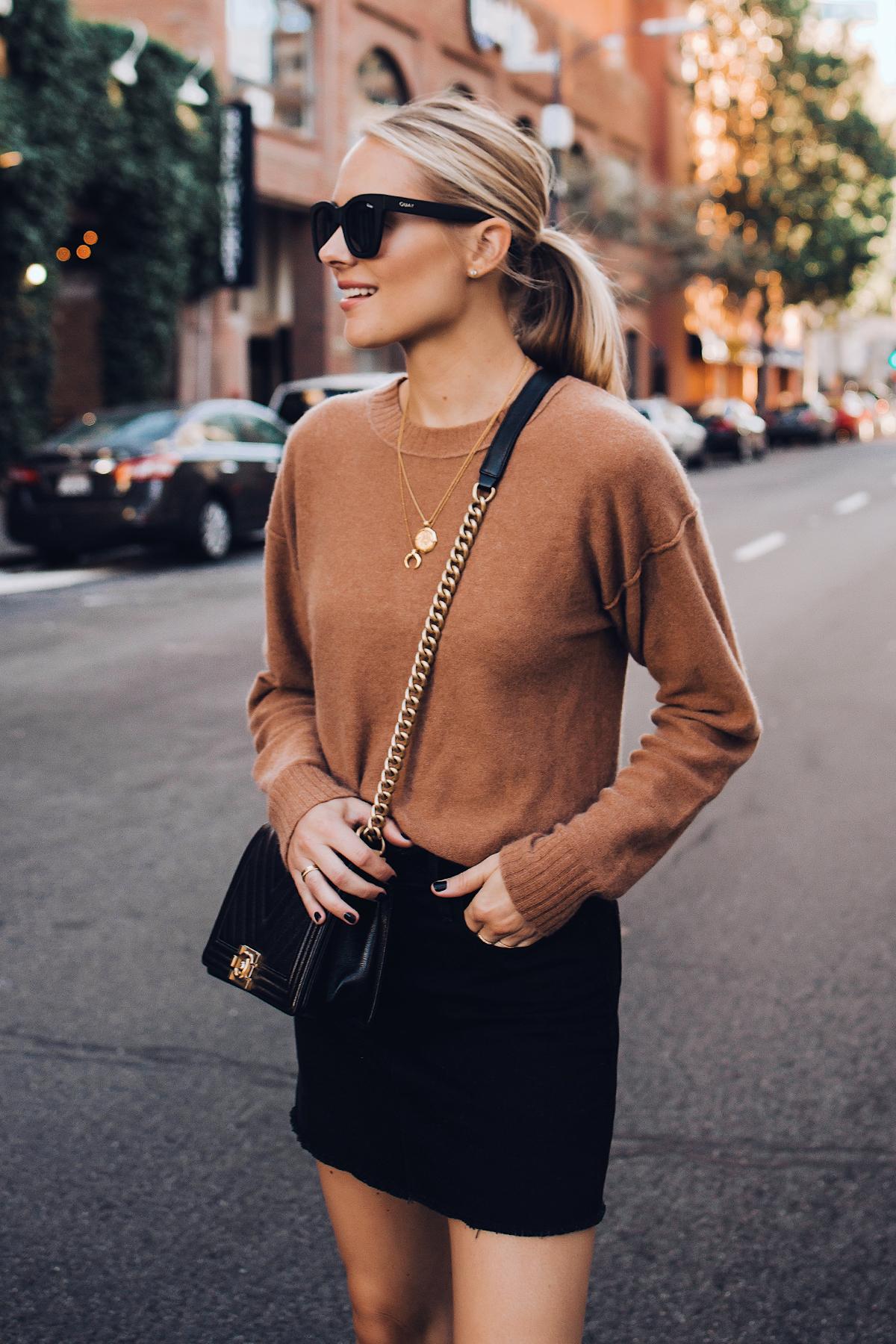 Blonde Woman Wearing Free People Tan Sweater Black Denim Skirt Outfit Chanel Black Boy Bag Fashion Jackson San Diego Fashion Blogger Street Style
