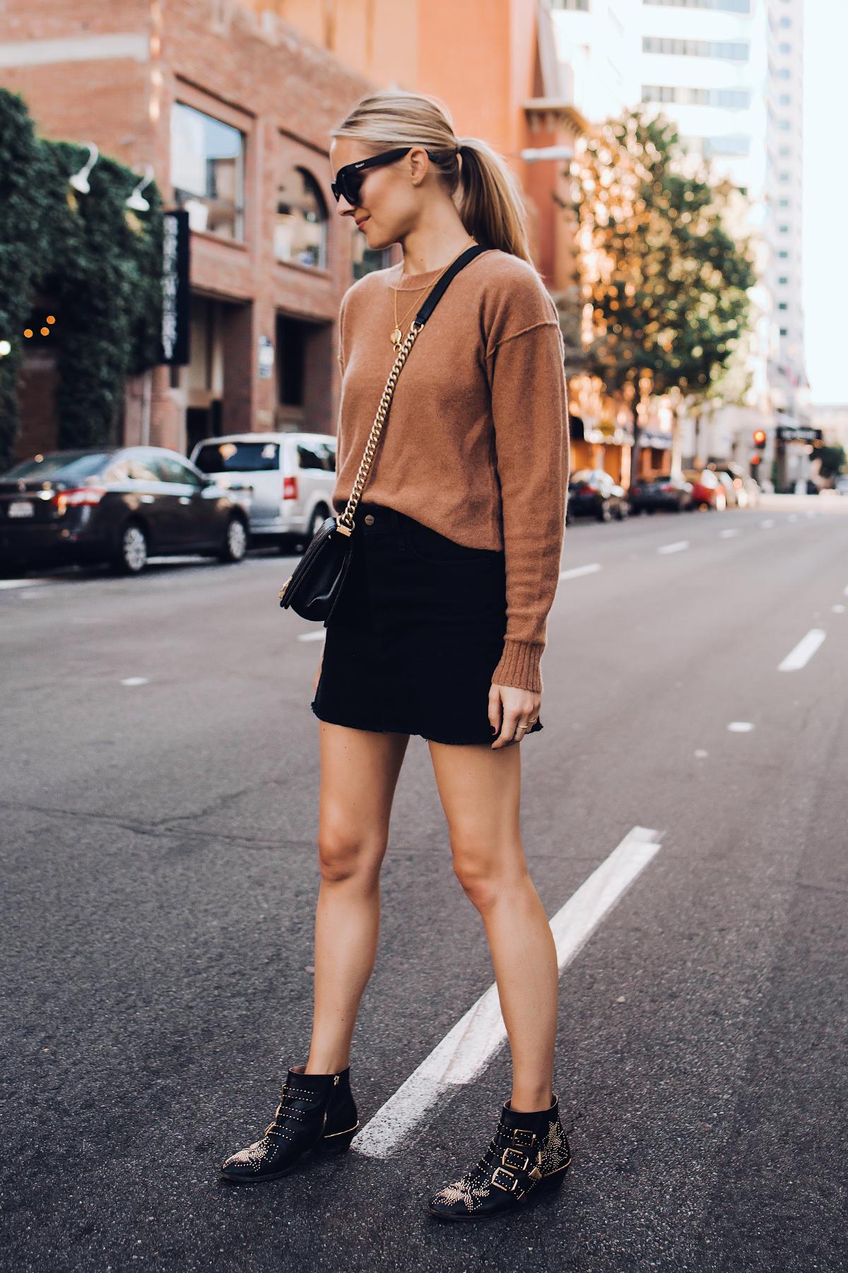 Blonde Woman Wearing Free People Tan Sweater Black Denim Skirt Chloe Susanna Blacks Booties Outfit Fashion Jackson San Diego Fashion Blogger Street Style