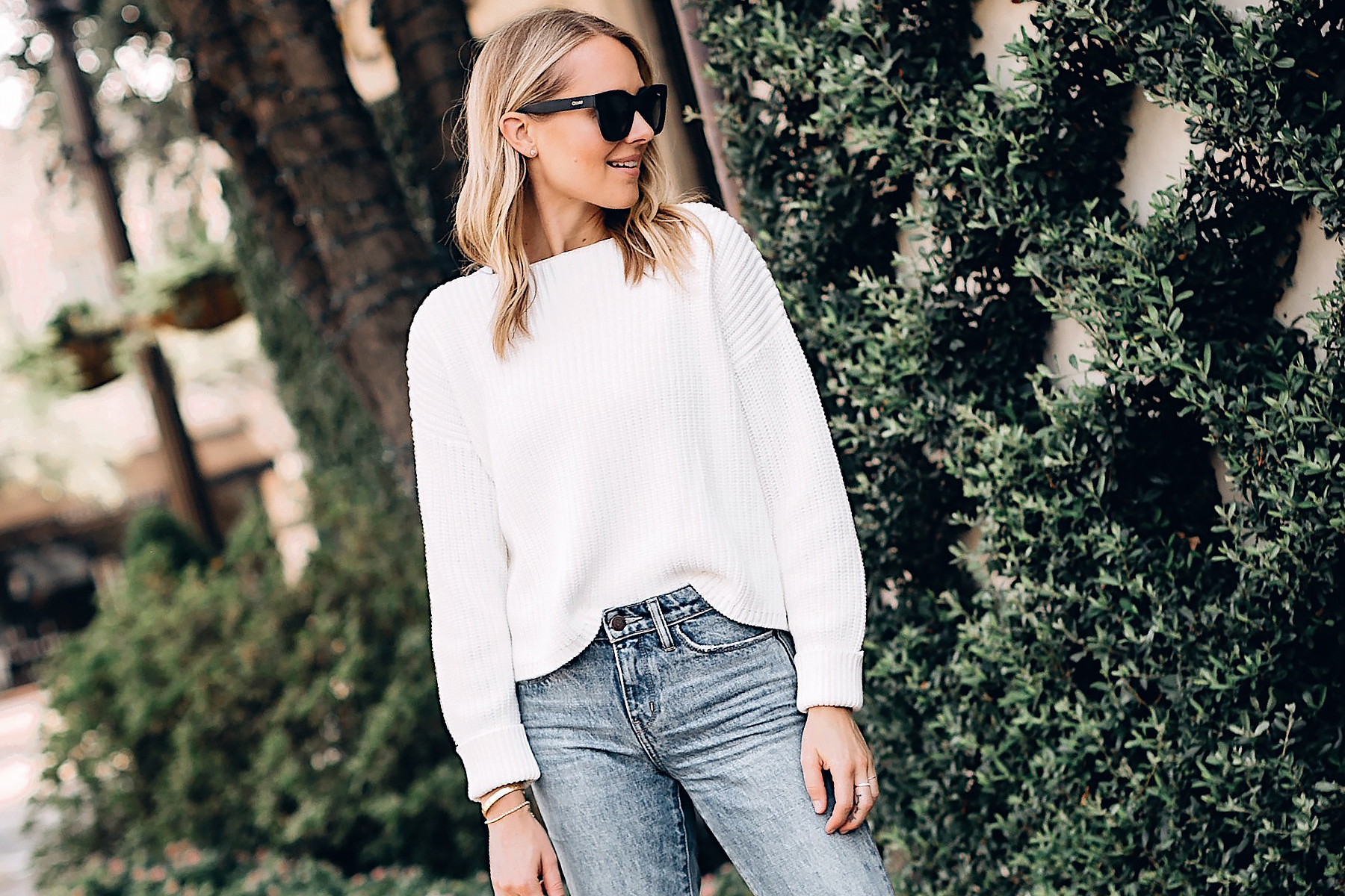 Blonde Woman Wearing French Connection Millie White Chunky Sweater Blue Jeans Fashion Jackson San Diego Fashion Blogger Street Style