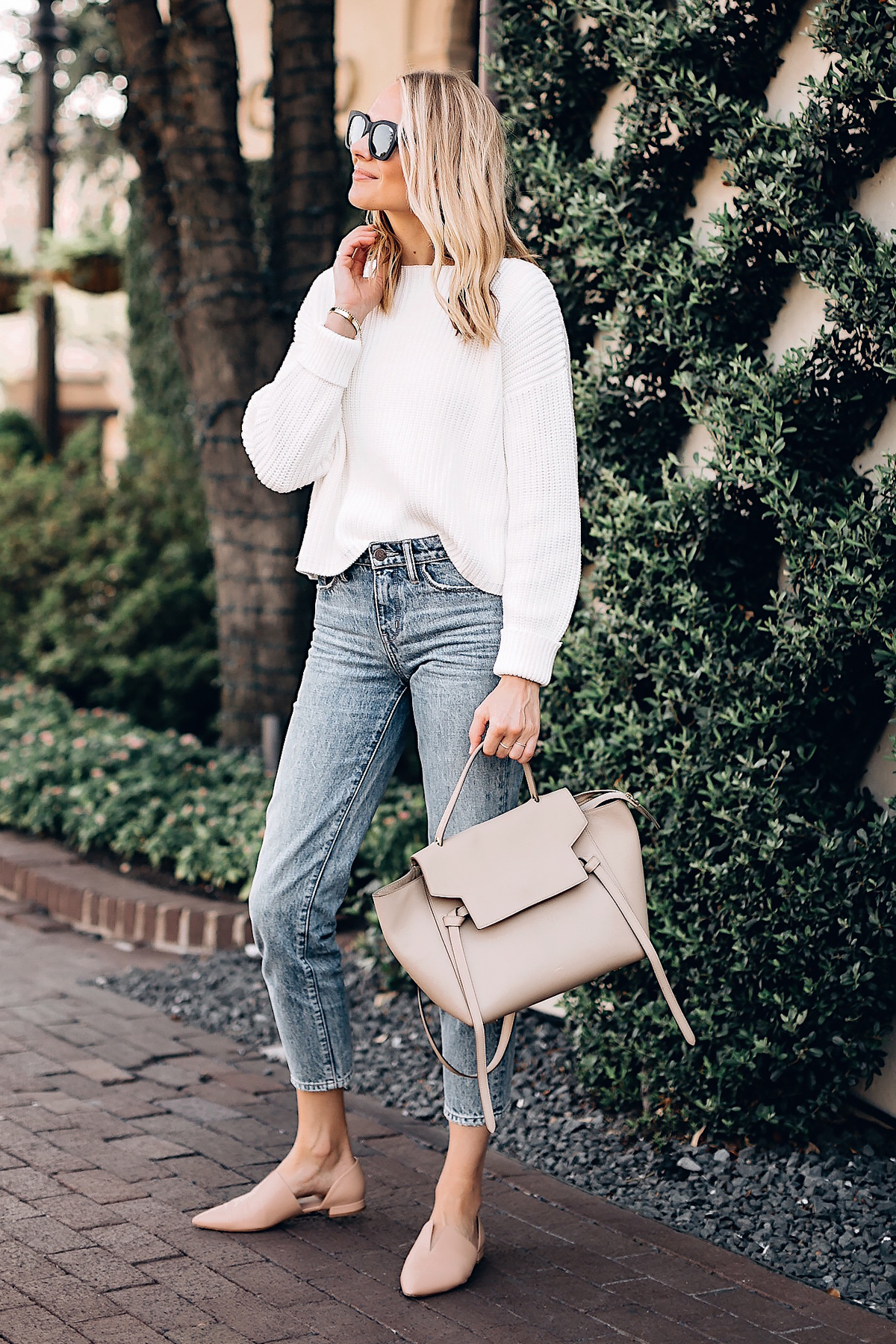 Blonde Woman Wearing French Connection Millie White Chunky Sweater Denim Ankle Crop Jeans Celine Mini Belt Bag Vince Blush Flats Fashion Jackson San Diego Fashion Blogger Street Style