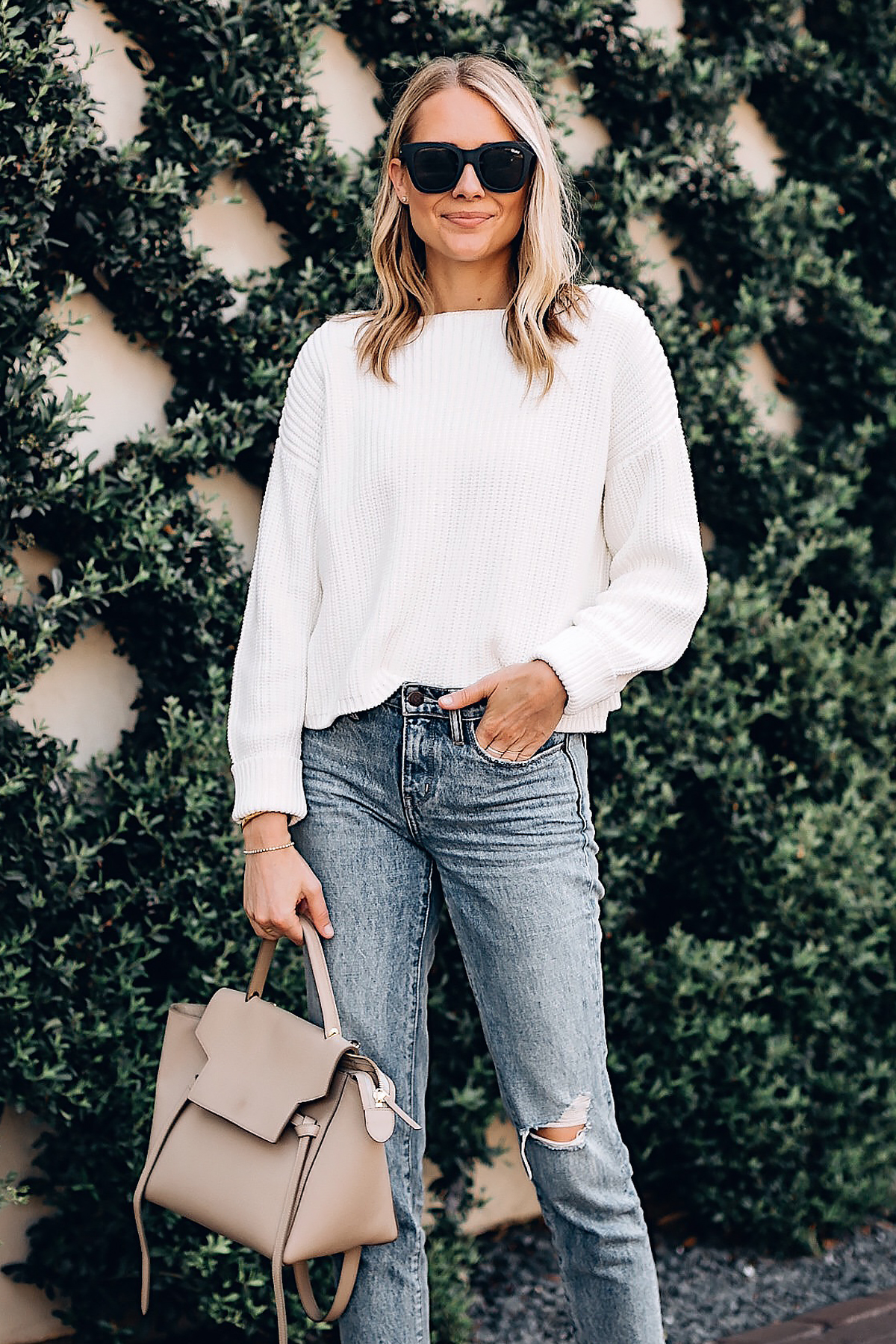 Blonde Woman Wearing French Connection Millie White Chunky Sweater Jeans Celine Mini Belt Bag Fashion Jackson San Diego Fashion Blogger Street Style