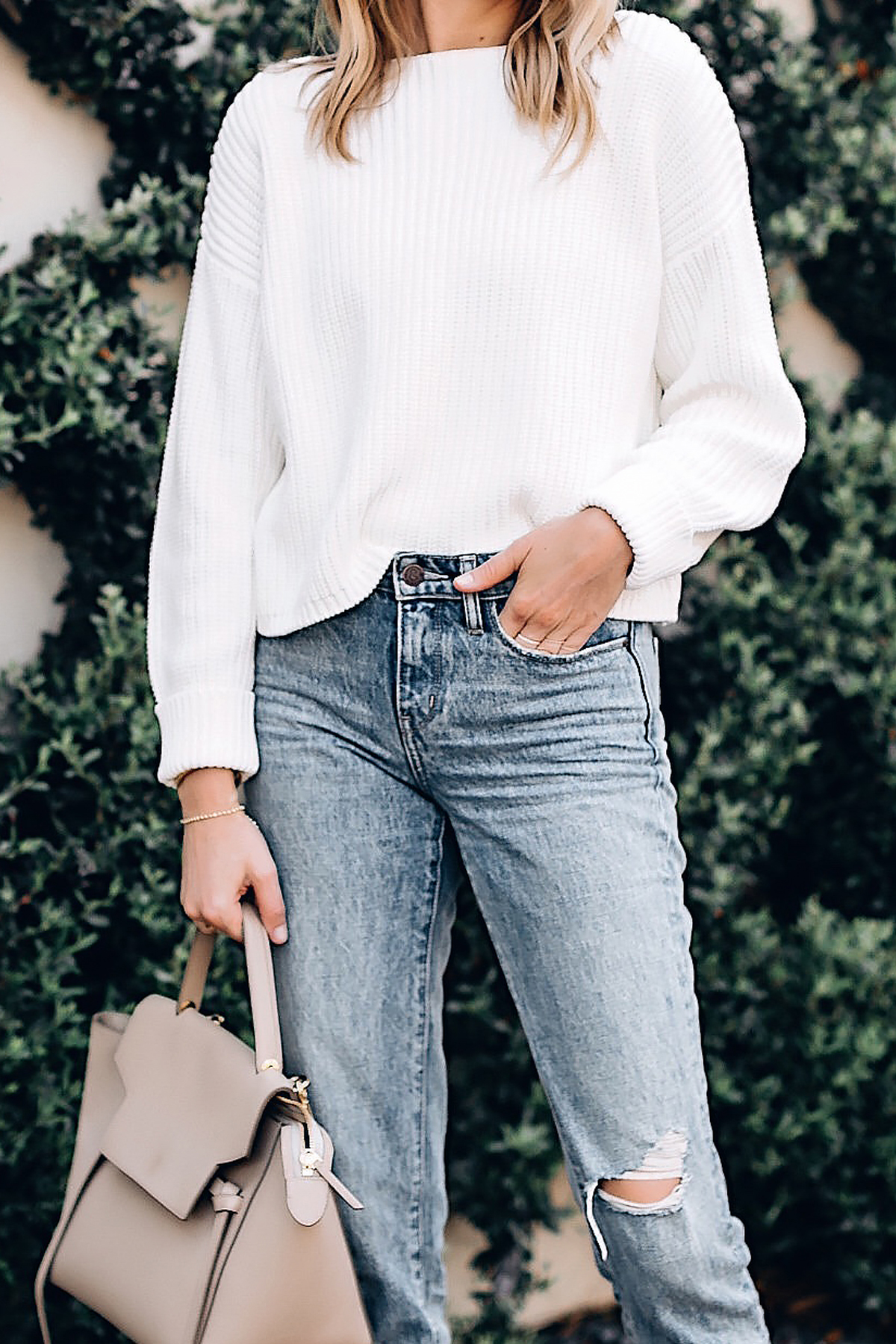 Woman Wearing French Connection Millie White Chunky Sweater Ripped Jeans Celine Mini Belt Bag Fashion Jackson San Diego Fashion Blogger Street Style