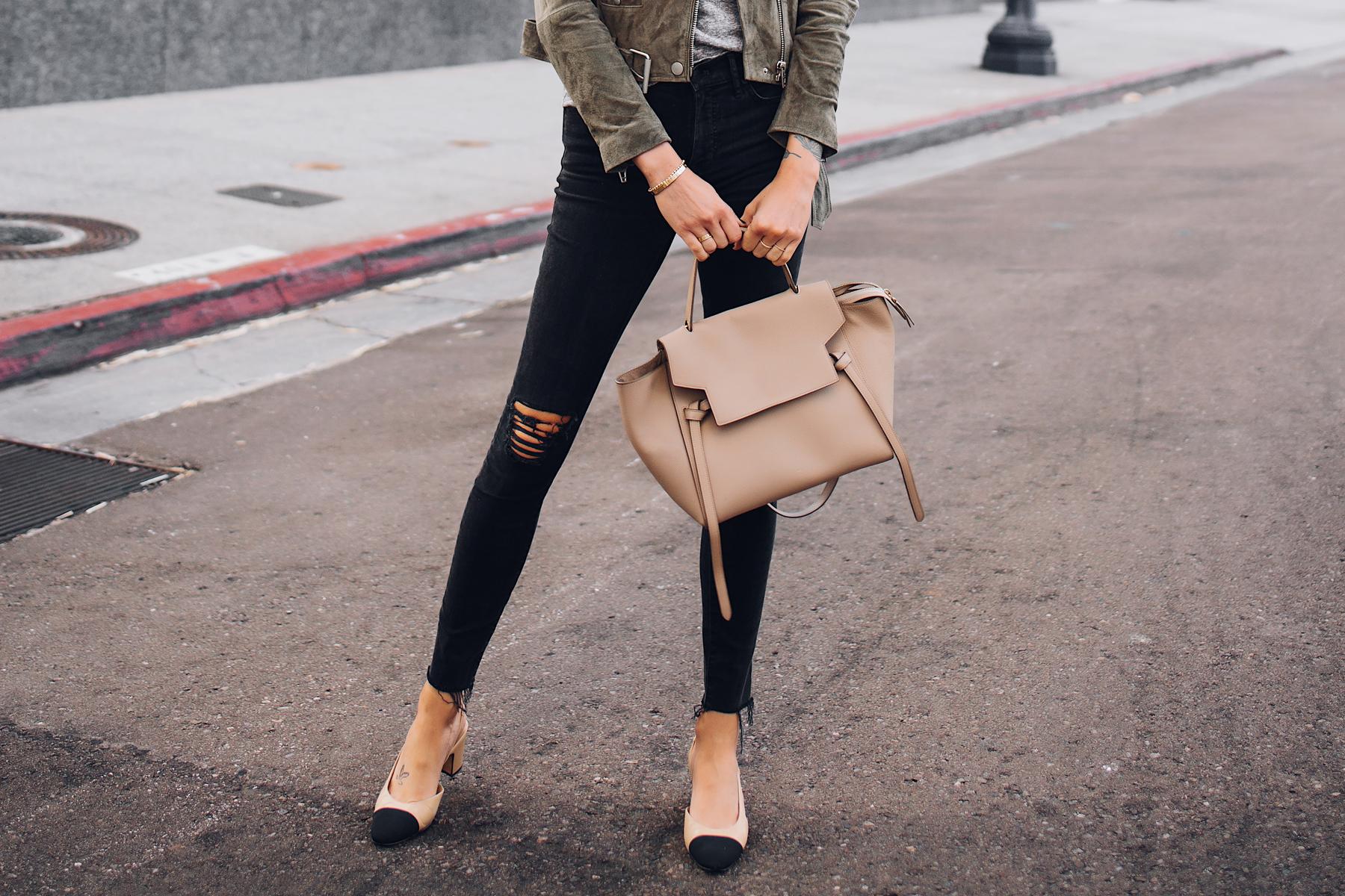 Woman Wearing Madewell Black Skinny Jeans Celine Mini Belt Bag Chanel Slingbacks Fashion Jackson San Diego Fashion Blogger Street Style