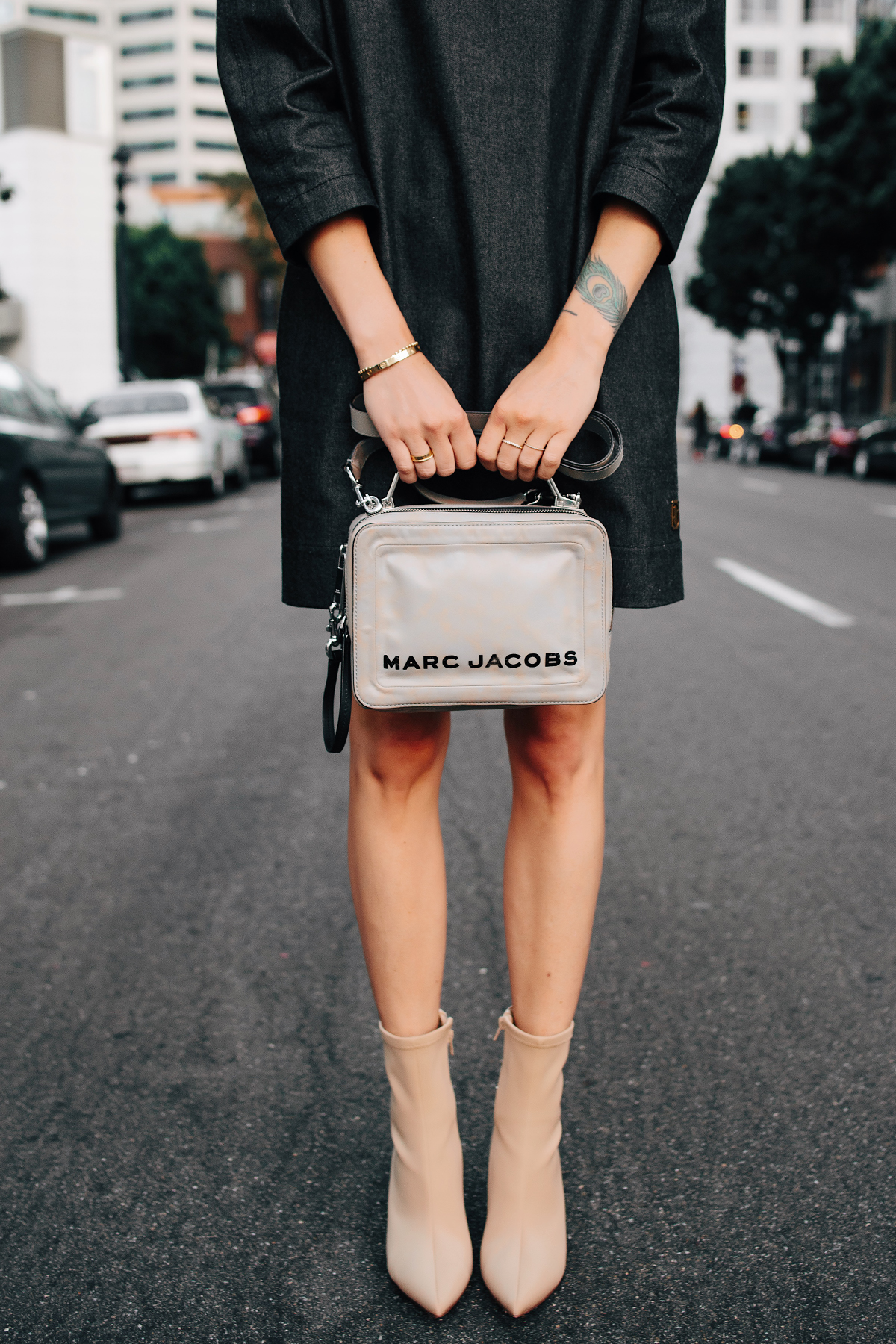 Woman Wearing Marc Jacobs Box Bag Marc Jacobs Denim Shift Dress Tan Heeled Booties Fashion Jackson San Diego Fashion Blogger Street Style