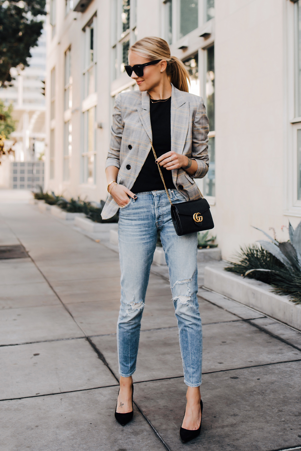 Fashion Jackson Plaid Blazer Mother Ripped Denim Jeans Black Pumps Gucci Black Handbag Fashion Jackson San Diego Fashion Blogger Street Style