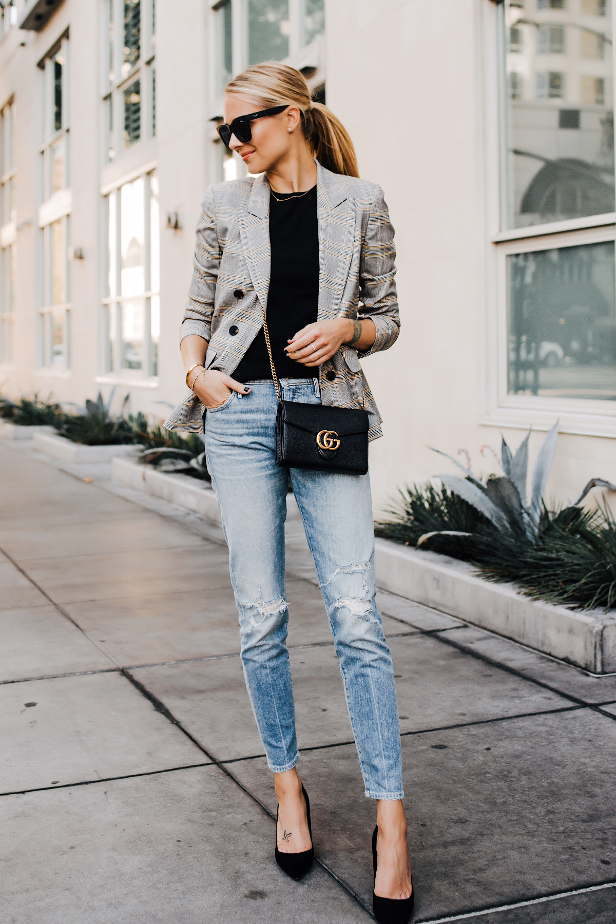 Blonde Woman Wearing Plaid Blazer Mother Ripped Denim Jeans Black Pumps Gucci Black Handbag Fashion Jackson San Diego Fashion Blogger Street Style